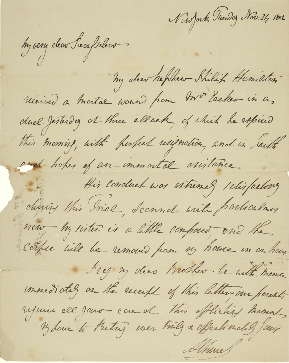 9. LETTER FROM ANGELICA SCHUYLER CHURCH REPORTING THE DEATH OF PHILIP HAMILTON // LOT 1061