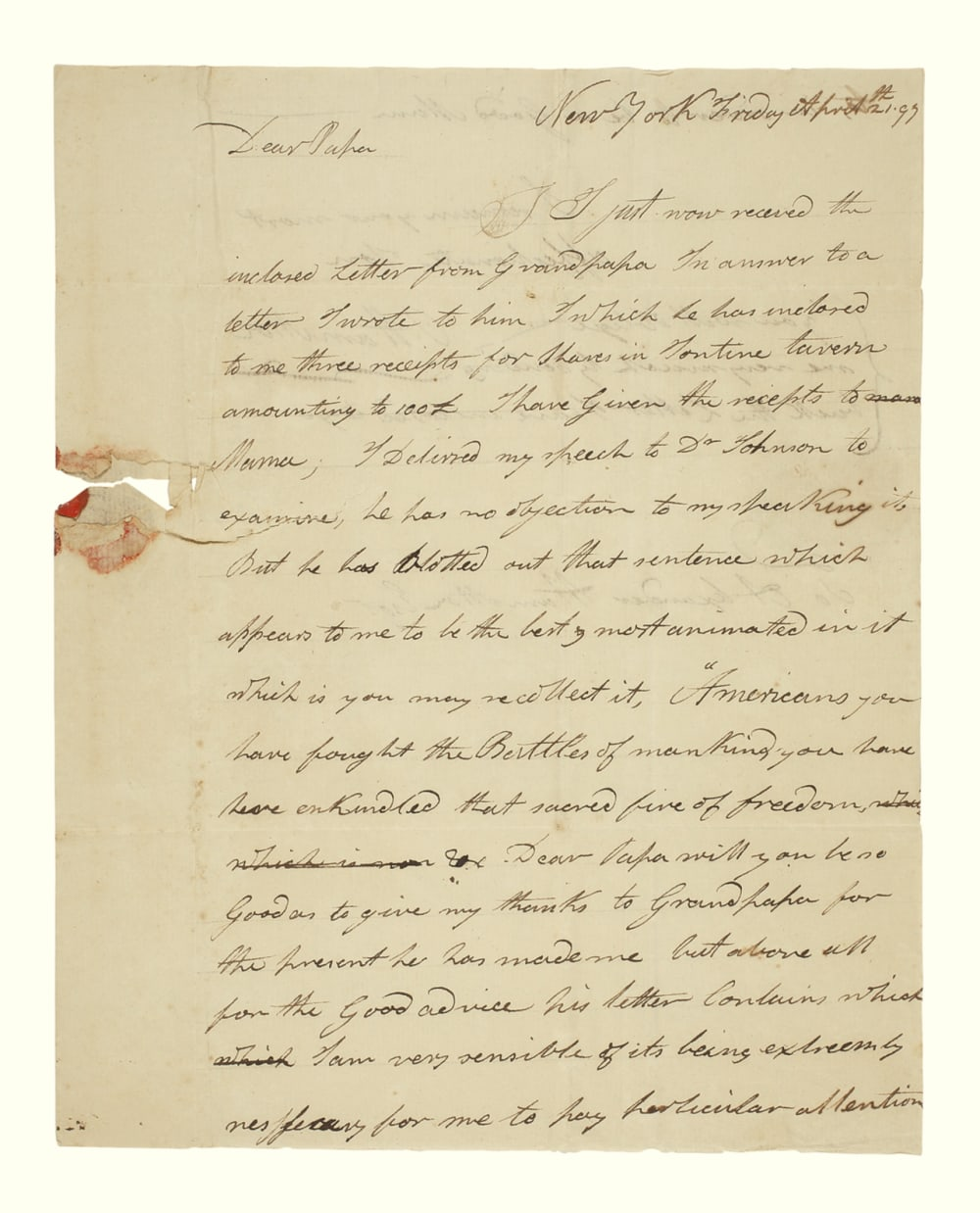 7. LETTER FROM PHILIP HAMILTON TO ALEXANDER // LOT 1052