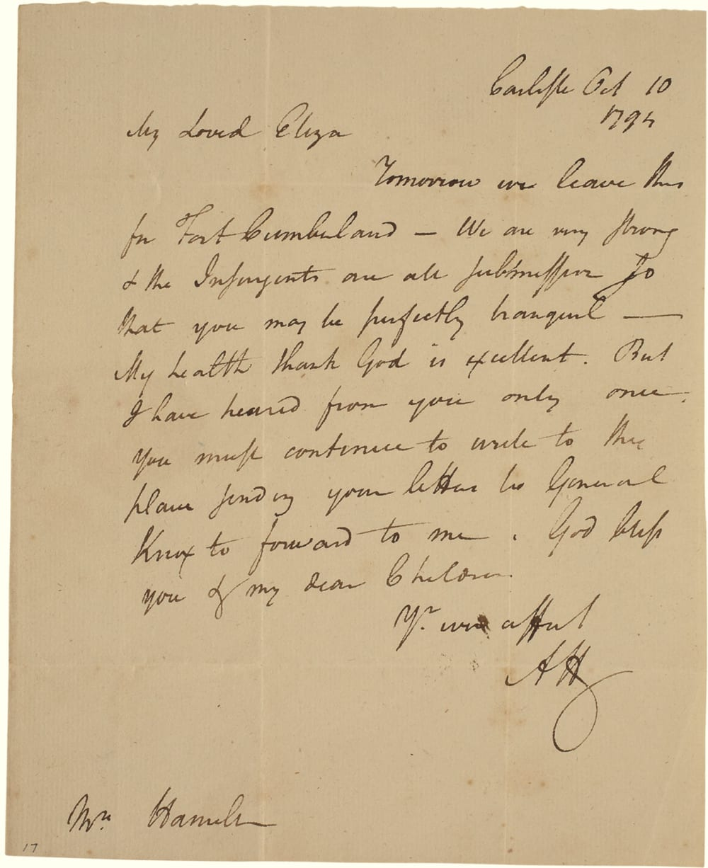 5. LETTER FROM HAMILTON TO ELIZA ABOUT THE WHISKEY REBELLION // LOT 1042