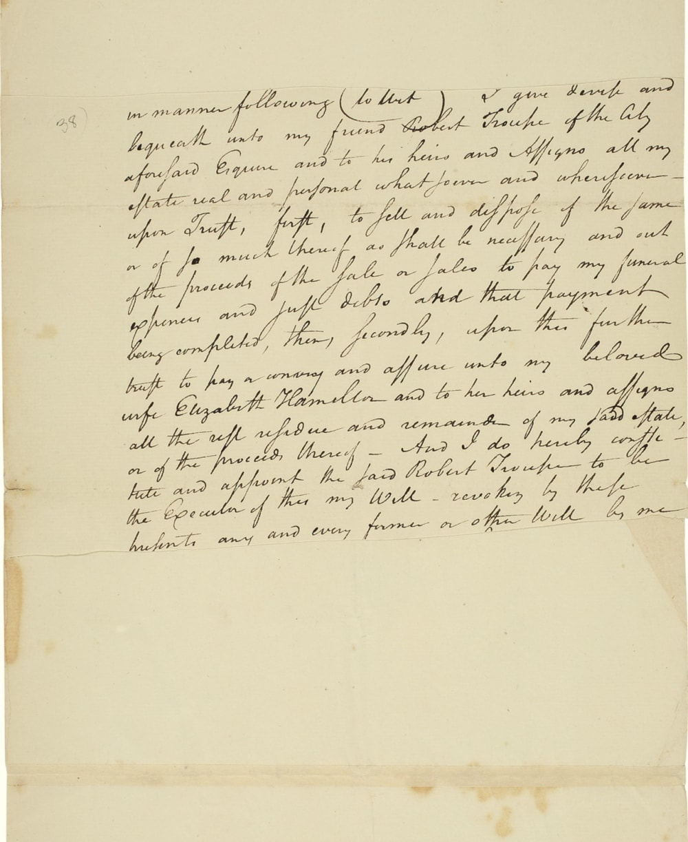 6. FRAGMENT FROM A WILL APPARENTLY WRITTEN IN ANTICIPATION OF A 1795 DUEL // LOT 1044