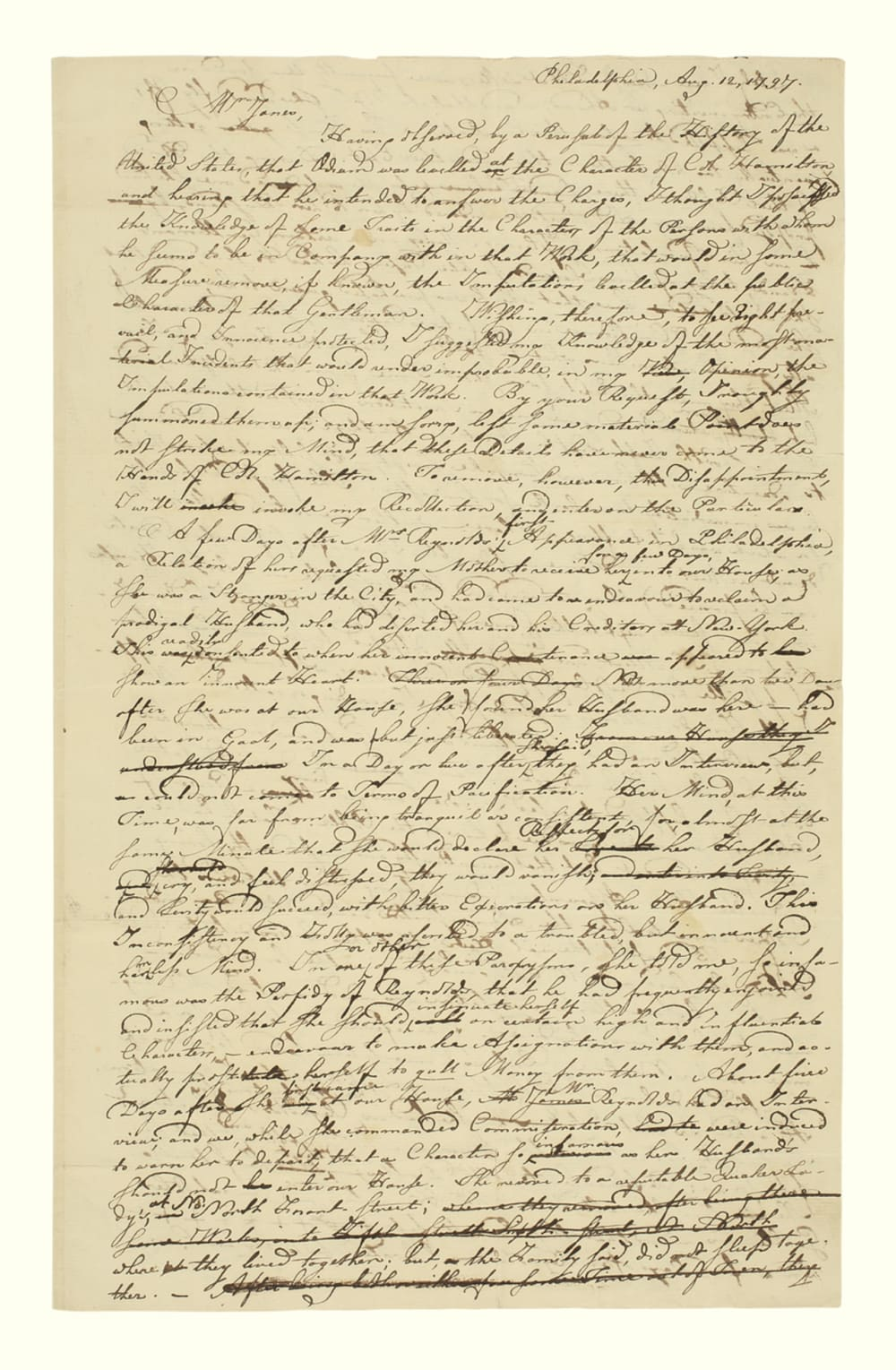8. LETTER FROM RICHARD FOLWELL INTENDED FOR HAMILTON ABOUT MARIA REYNOLDS // LOT 1053