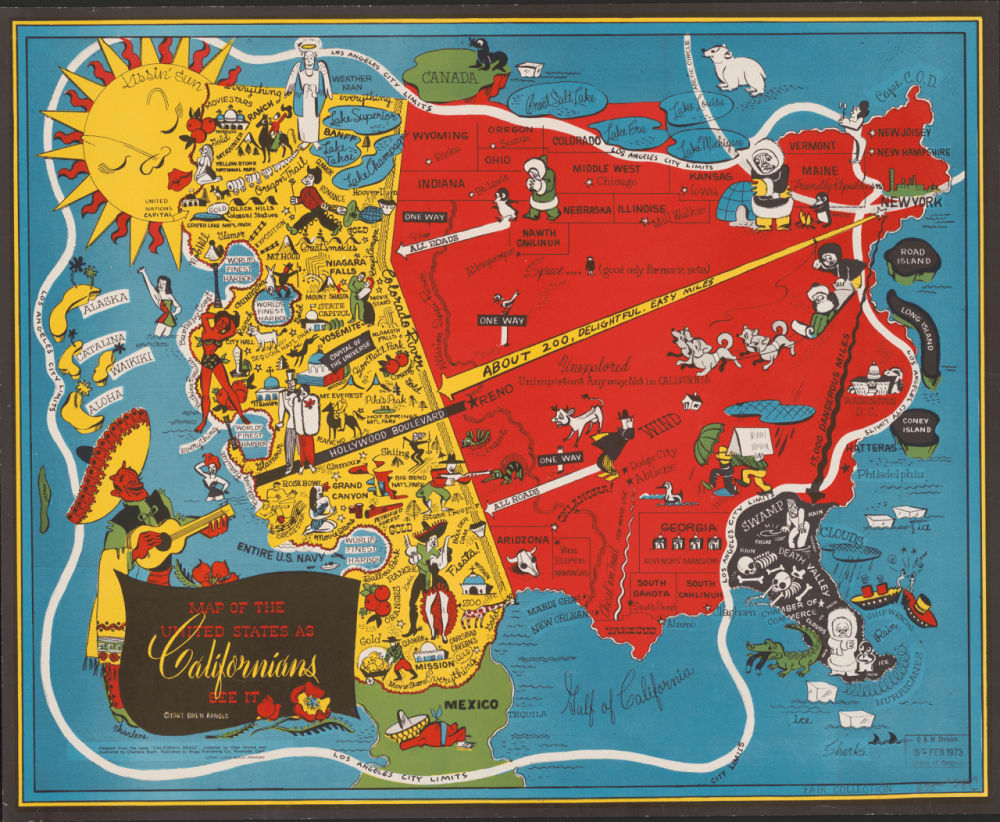 1. MAP OF THE UNITED STATES AS CALIFORNIANS SEE IT, 1947