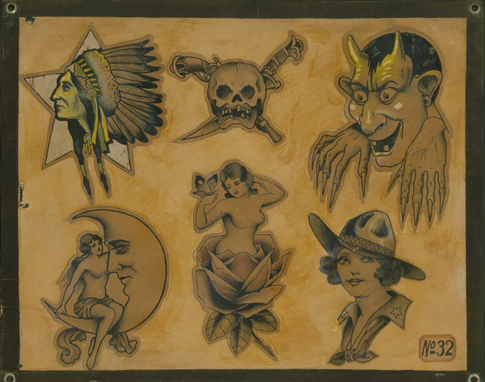 38c6782ec 1930, pen and watercolor on art board, collection of Ohio Tattoo Museum