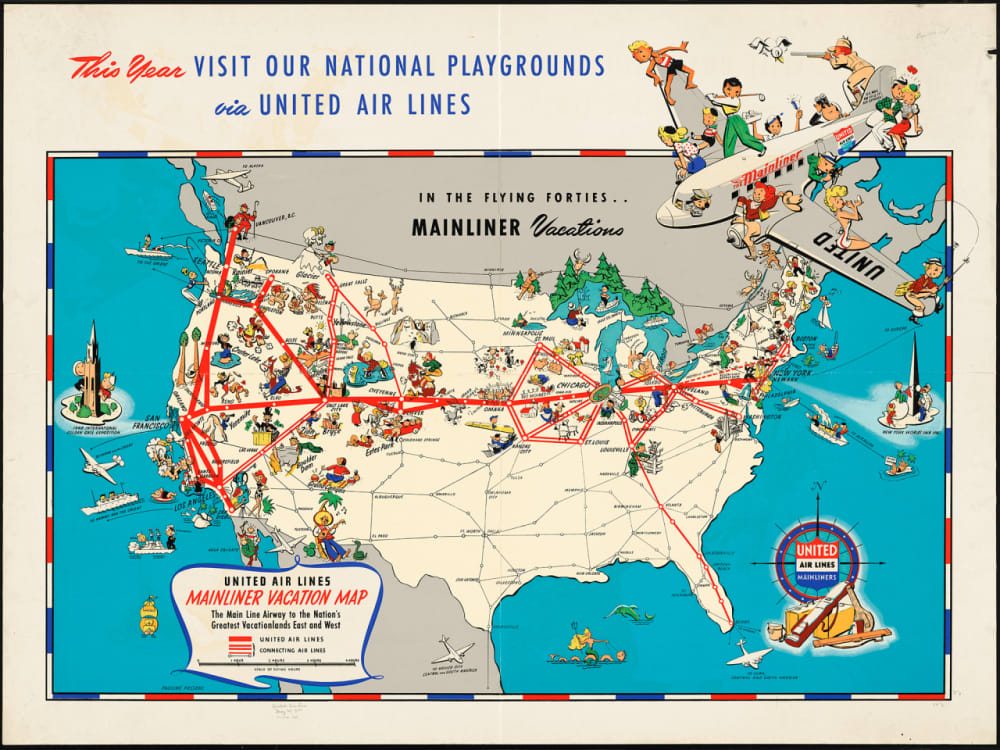 9. UNITED AIRLINES MAINLINER VACATION MAP, 1940