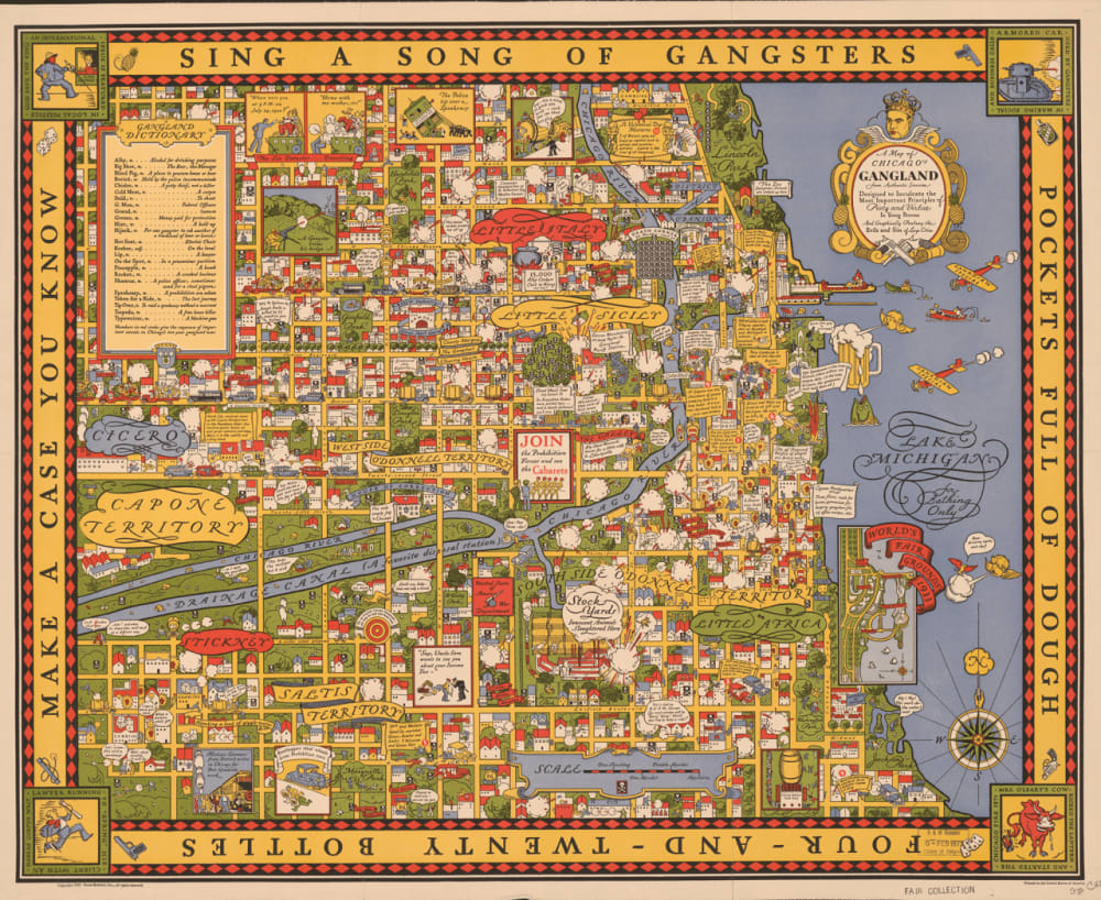 6. A MAP OF CHICAGO'S GANGLAND FROM AUTHENTIC SOURCES, 1931