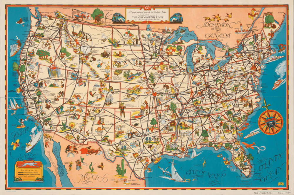 8. A GOOD-NATURED MAP OF THE UNITED STATES SETTING FORTH THE SERVICES OF THE GREYHOUND LINES AND A FEW PRINCIPAL CONNECTING BUS LINES, 1939