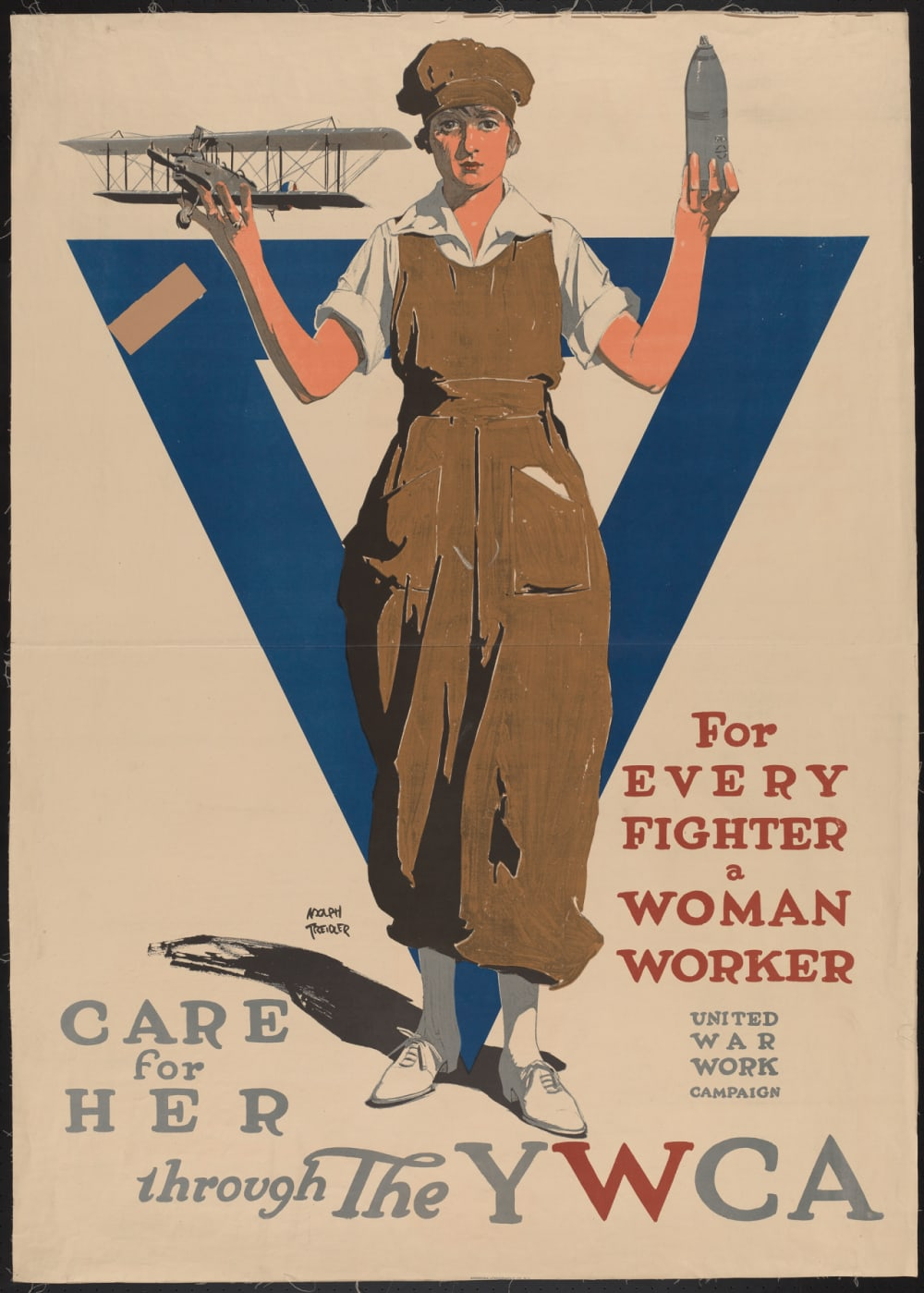 "11. ""FOR EVERY FIGHTER A WOMAN WORKER"" BY ADOLPH TREIDLER, C. 1918"