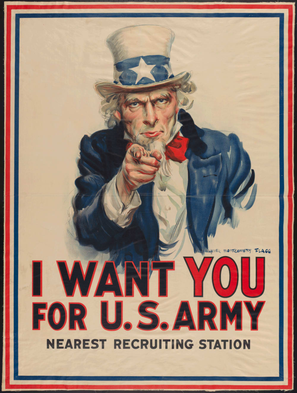 "3. ""I WANT YOU FOR U.S. ARMY"" BY JAMES MONTGOMERY FLAGG, C. 1917"
