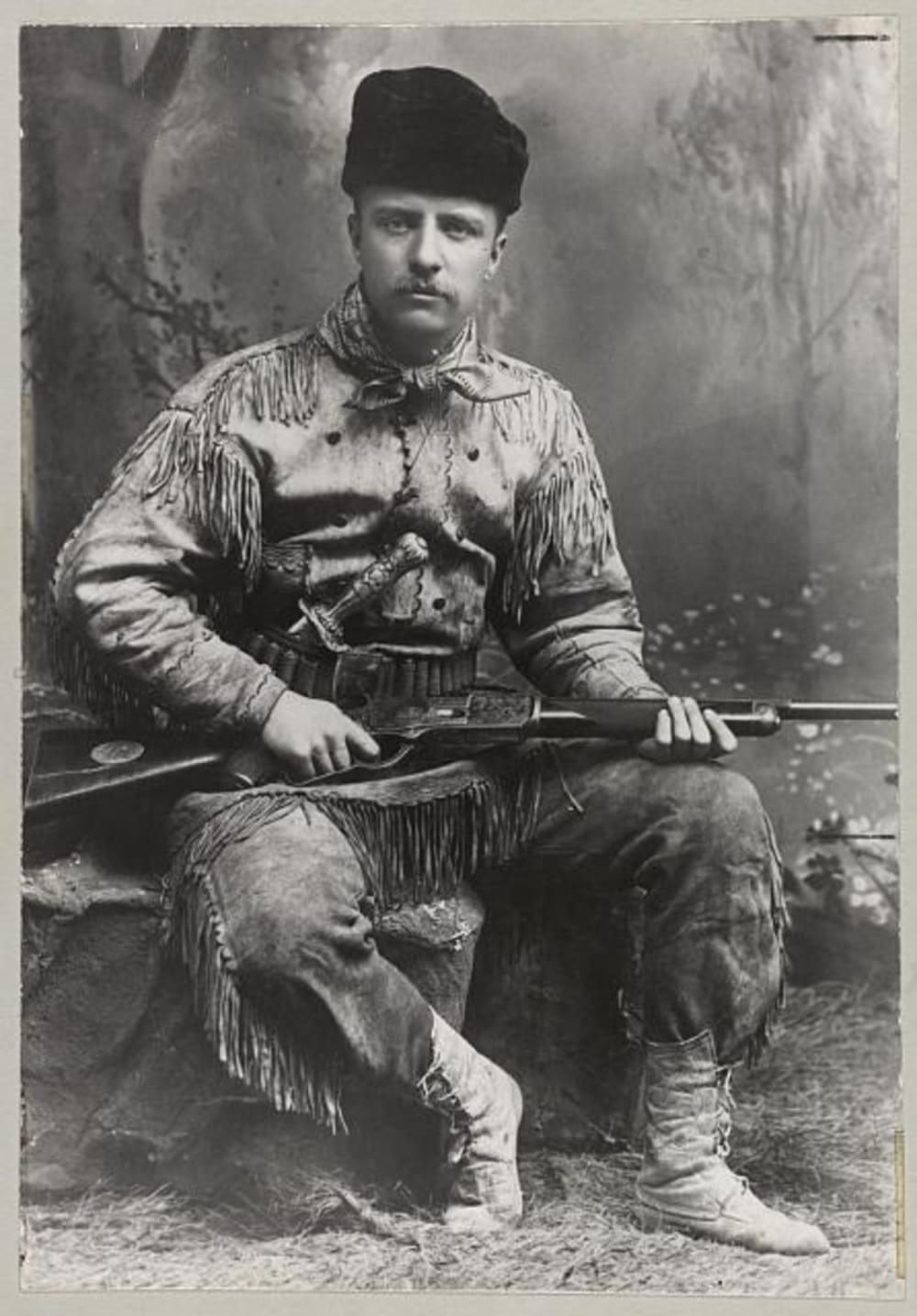 8. Theodore Roosevelt Poses in His Hunting Suit