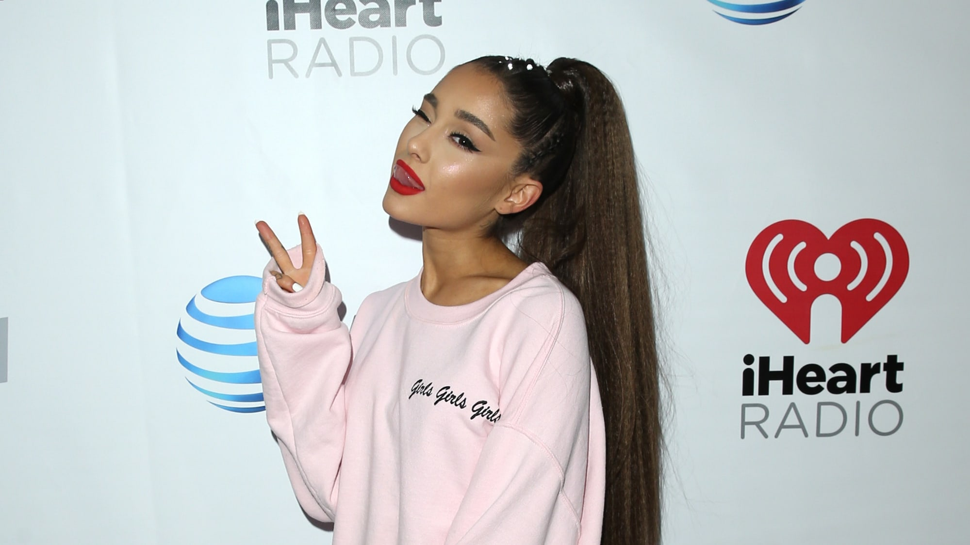 LOS ANGELES, CA - JUNE 02:  (EDITORIAL USE ONLY. NO COMMERCIAL USE) Ariana Grande backstage at the 2018 iHeartRadio Wango Tango by AT&T at Banc of California Stadium on June 2, 2018 in Los Angeles, California.  (Photo by Jesse Grant/Getty Images for iHeartMedia)