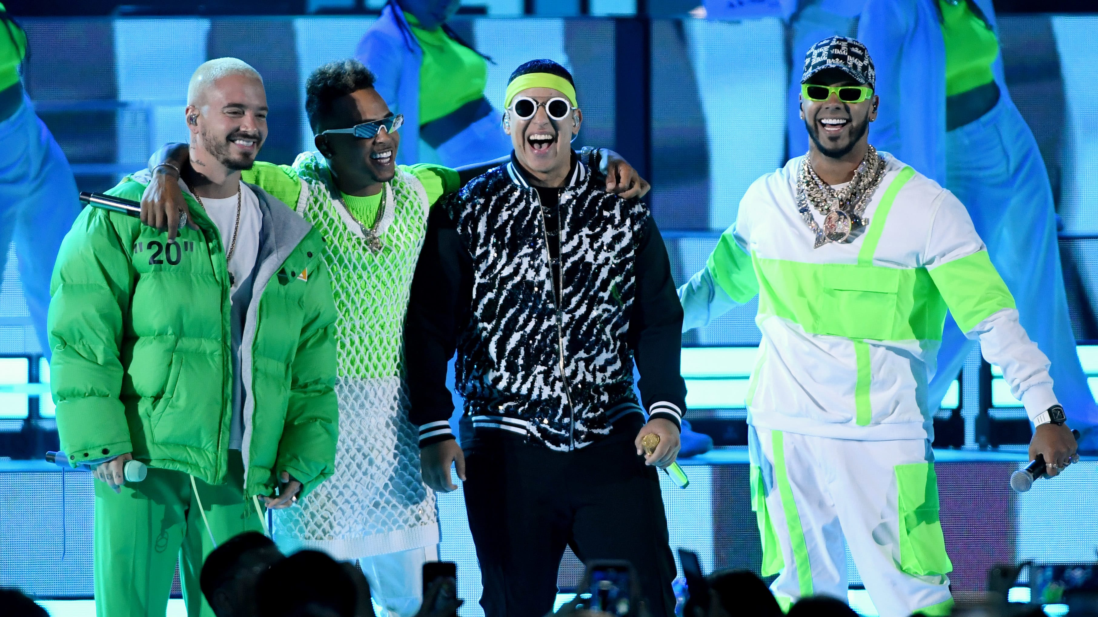 LAS VEGAS, NEVADA - APRIL 25:  (L-R) J Balvin, Ozuna, Daddy Yankee and Anuel AA perform during the 2019 Billboard Latin Music Awards at the Mandalay Bay Events Center on April 25, 2019 in Las Vegas, Nevada.  (Photo by Ethan Miller/Getty Images)