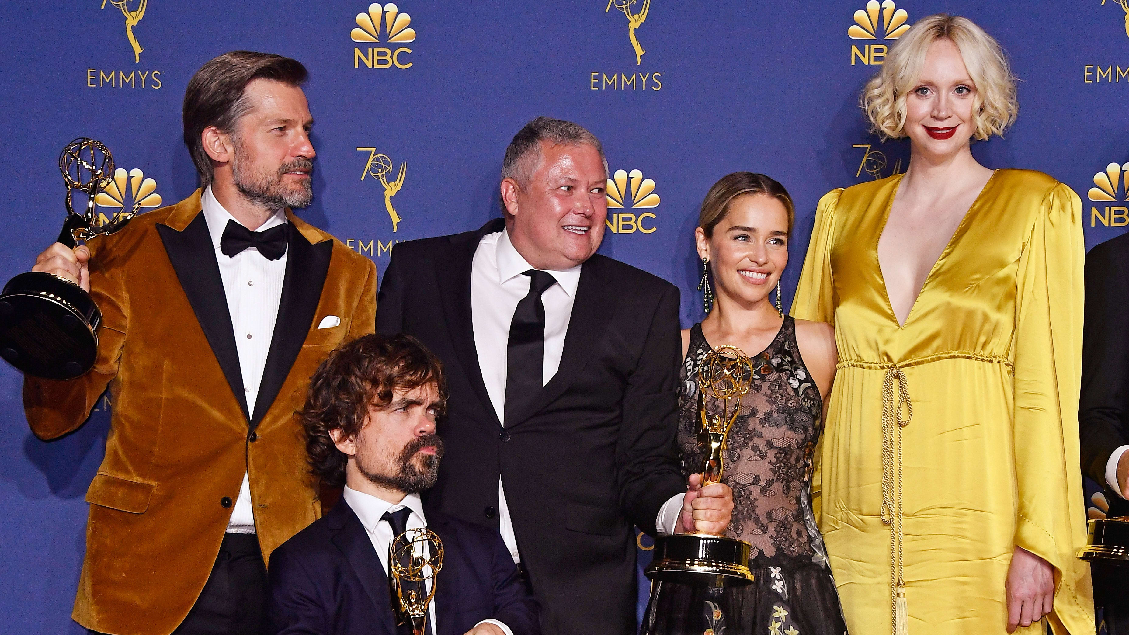 LOS ANGELES, CA - SEPTEMBER 17:  (L-R) Outstanding Drama Series winners Nikolaj Coster-Waldau , Peter Dinklage, Conleth Hill, Emilia Clarke, and Gwendoline Christie pose in the press room during the 70th Emmy Awards at Microsoft Theater on September 17, 2018 in Los Angeles, California.  (Photo by Frazer Harrison/Getty Images)
