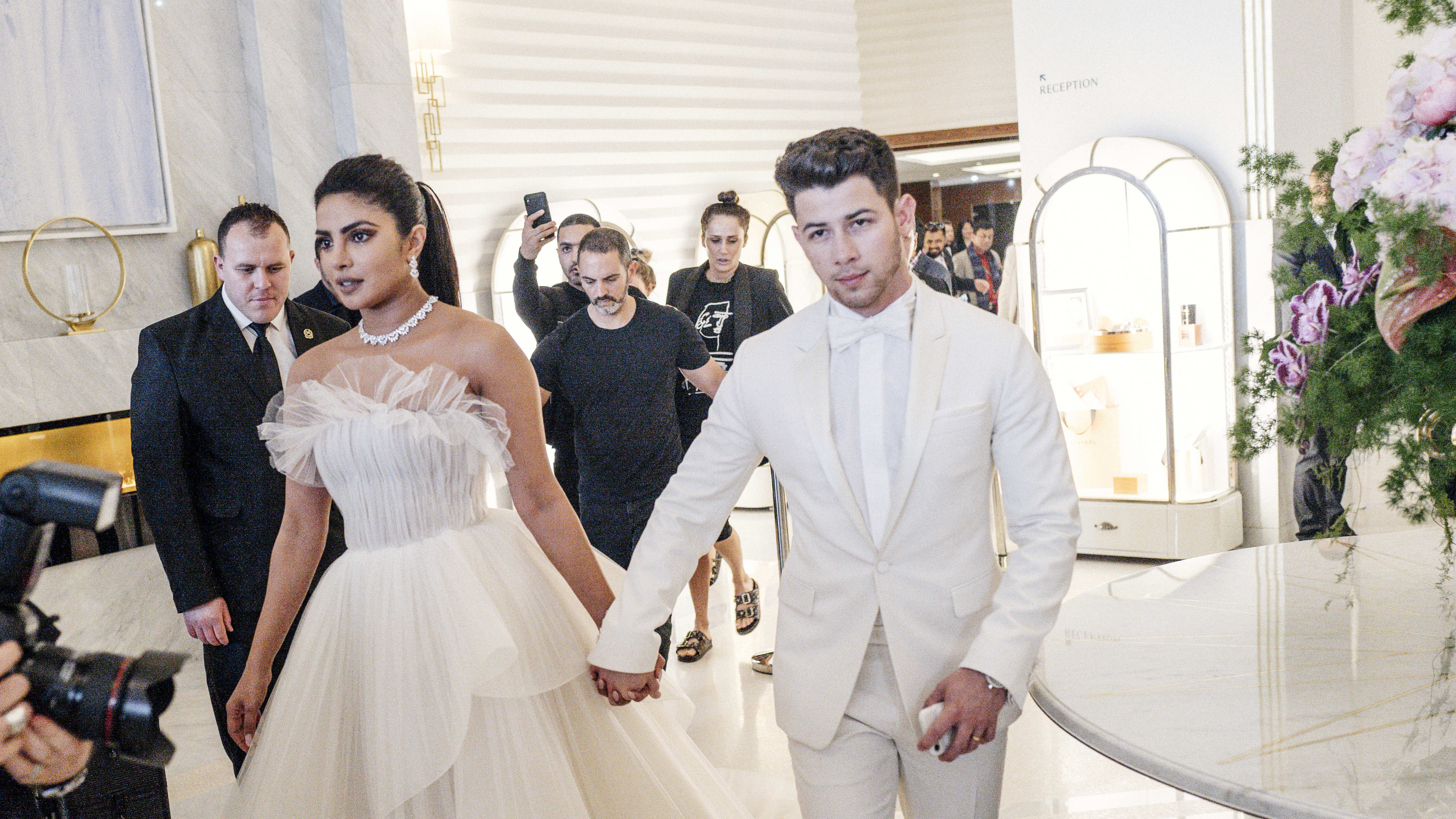 CANNES, FRANCE - MAY 18: (EDITORS NOTE: Image has been digitally altered)  Priyanka Chopra and Nick Jonas at the Martinez Hotel during the 72nd annual Cannes Film Festival on May 18, 2019 in Cannes, France. (Photo by Gareth Cattermole/Getty Images)
