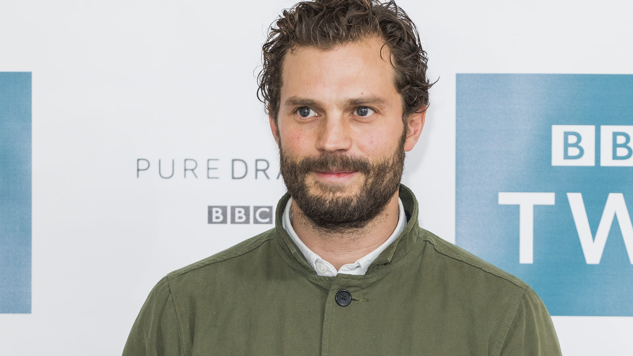 LONDON, ENGLAND - NOVEMBER 26:  Jamie Dornan attends a photocall for 'Death and Nightingales' at Soho Hotel on November 26, 2018 in London, England. (Photo by Tristan Fewings/Getty Images)