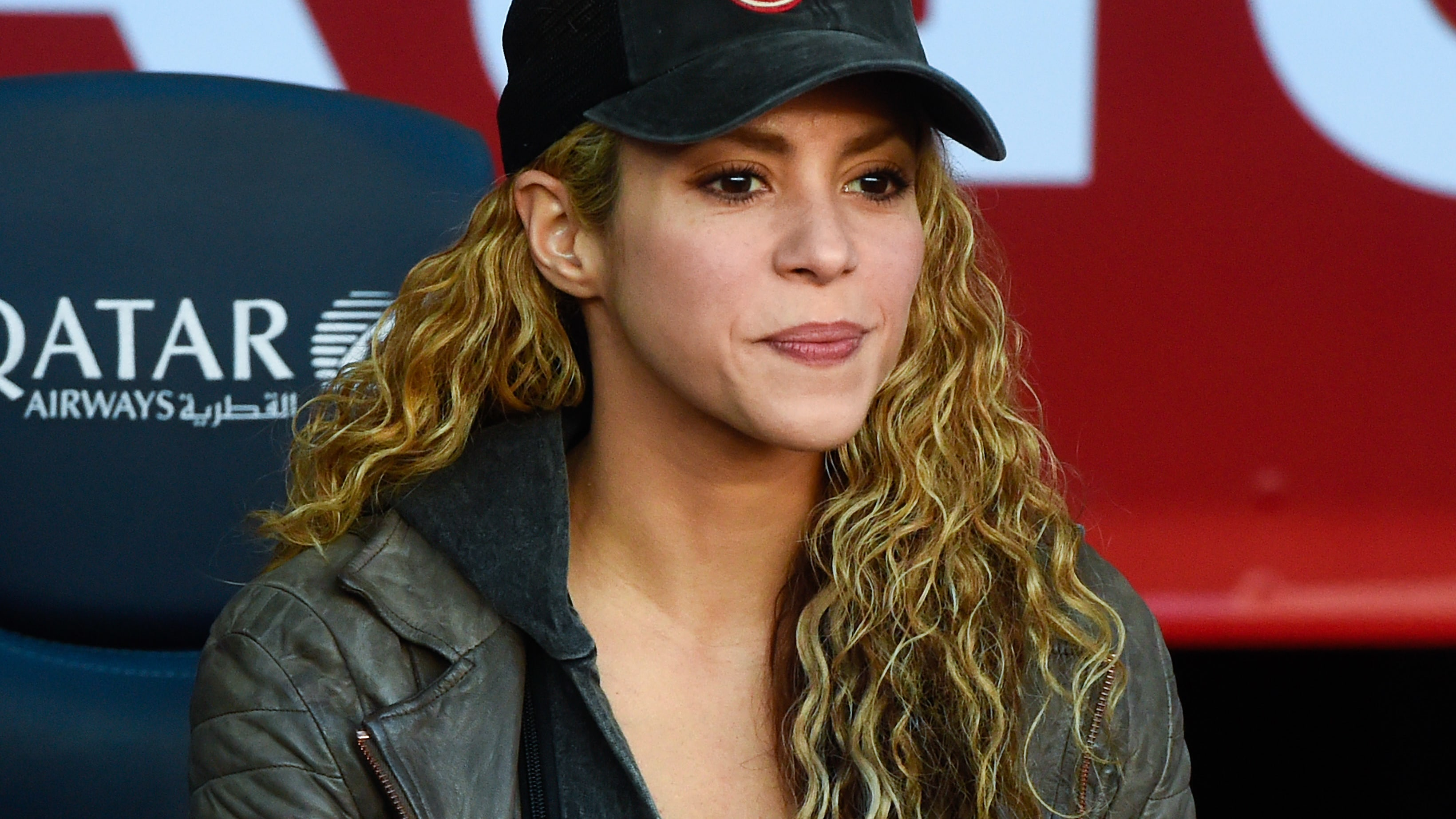 BARCELONA, SPAIN - NOVEMBER 28:  Shakira looks on ahead of the La Liga match between FC Barcelona and Real Sociedad de Futbol at Camp Nou on November 28, 2015 in Barcelona, Spain.  (Photo by David Ramos/Getty Images)