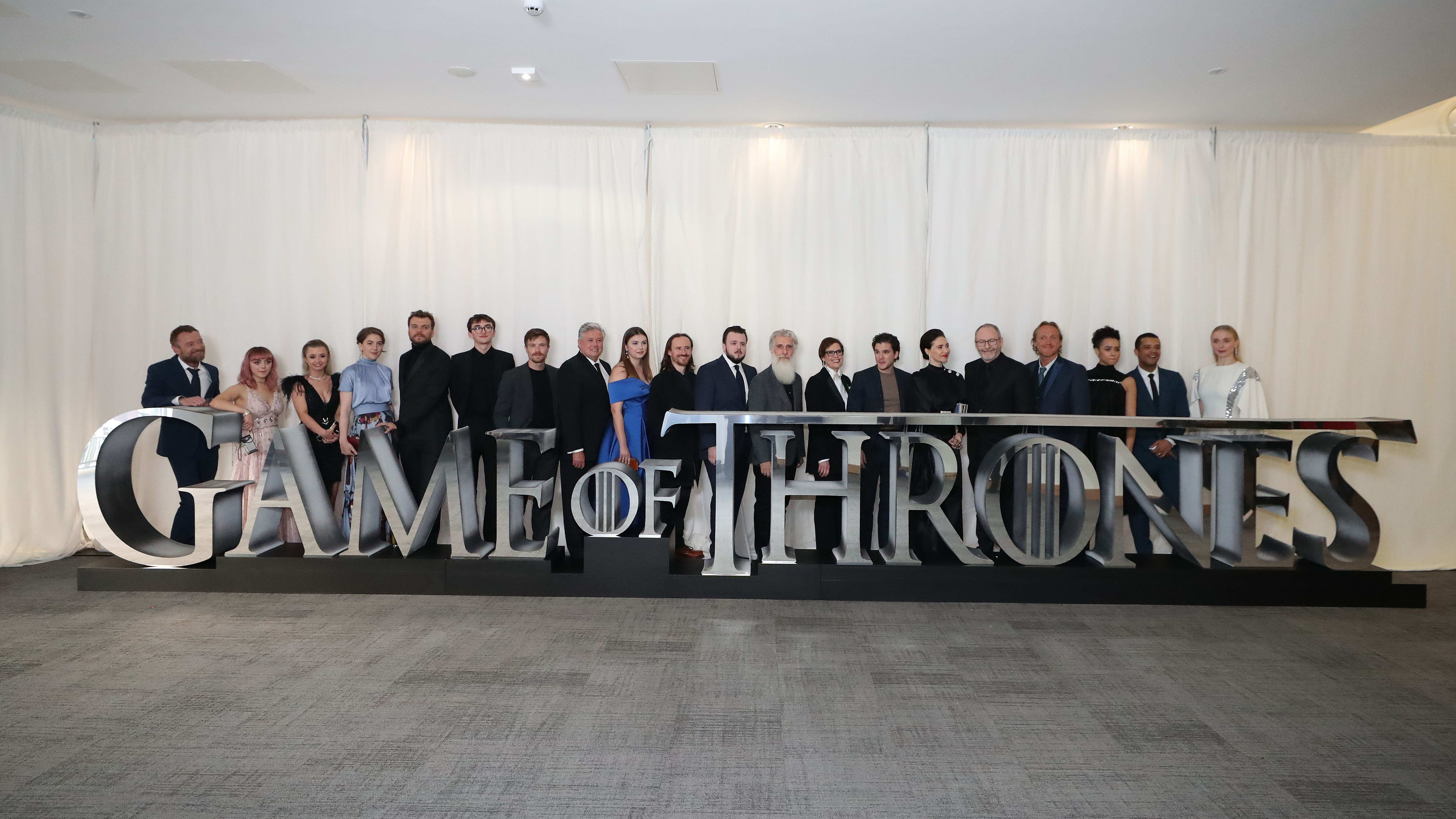 "BELFAST, NORTHERN IRELAND - APRIL 12: The cast of Game of Thrones attend the ""Game of Thrones"" Season 8 premiere screening at Waterfront Hall on April 12, 2019 in Belfast, Northern Ireland. The first episode of the final season of the HBO series will air this weekend. (Photo by Charles McQuillan/Getty Images)"