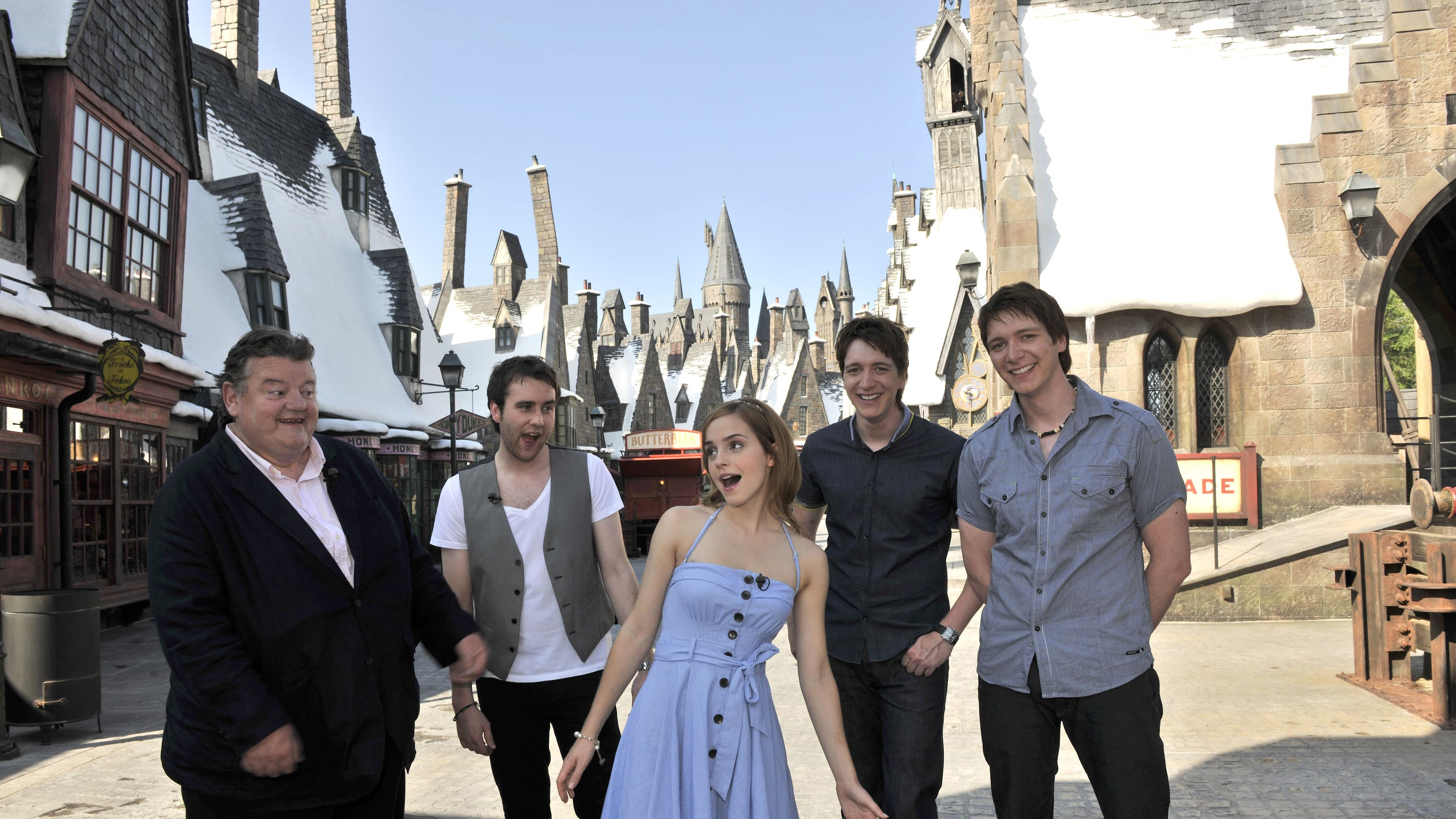ORLANDO, FL - MAY 20: In this handout photo provided by Universal Orlando, Harry Potter film stars Robbie Coltrane, Matthew Lewis, Emma Watson, Oliver Phelps and James Phelps began their sneak peek tour of The Wizarding World of Harry Potter by entering Hogsmeade on May 20, 2010 in Orlando, Florida. The group was invited to Universal Orlando Resort for a first-look at the immersive environment, and will spend the day visiting many of the iconic locations made famous in the popular Harry Potter series. The Wizarding World of Harry Potter at Universal Orlando Resort grand opens on June 18. (Photo by Kevin Kolczynski/Universal Orlando via Getty Images)