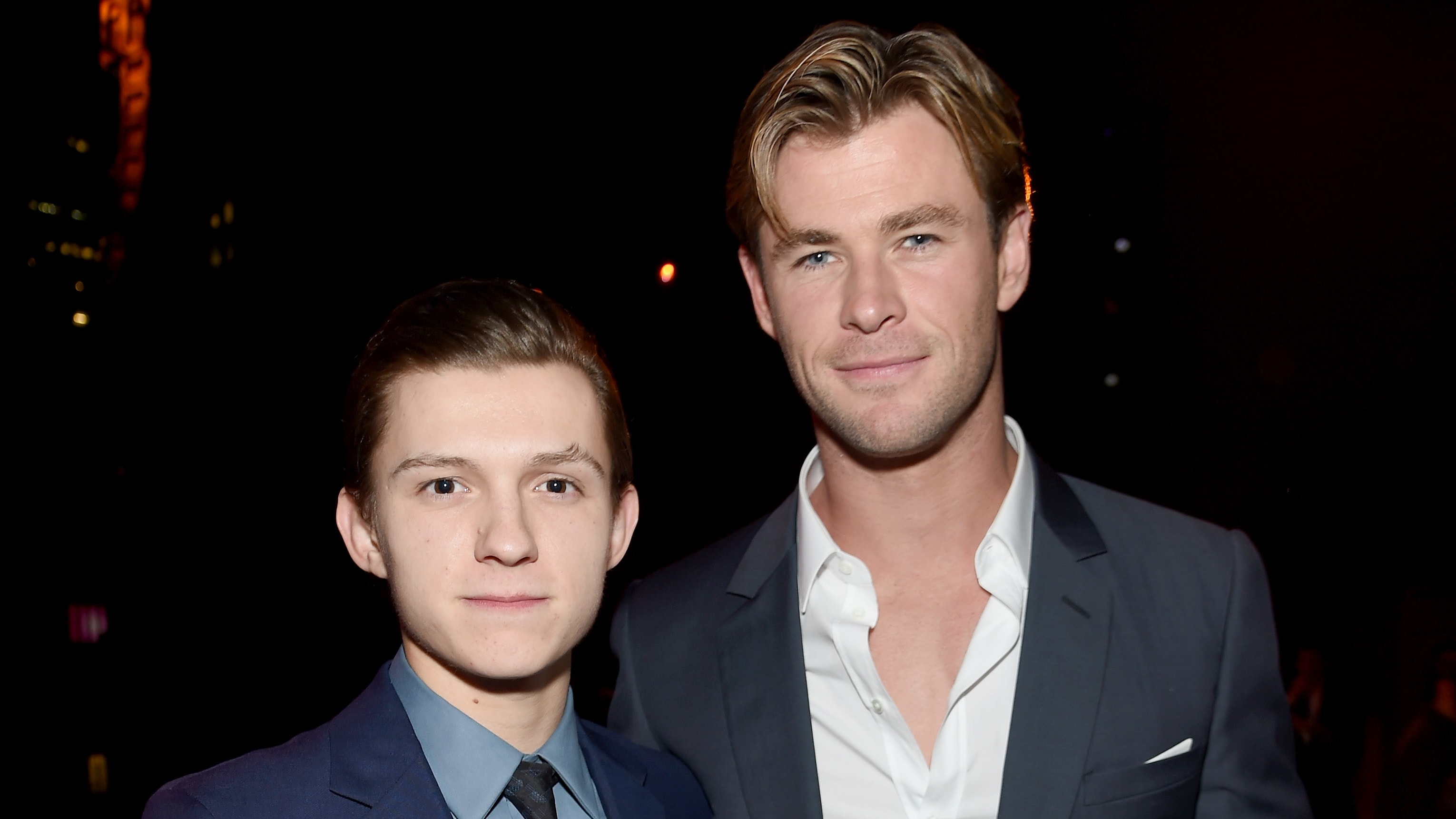 """NEW YORK, NY - DECEMBER 07:  Tom Holland and Chris Hemsworth attend """"In The Heart Of The Sea"""" New York Premiere after party at Appel Room on December 7, 2015 in New York City.  (Photo by Jamie McCarthy/Getty Images)"""
