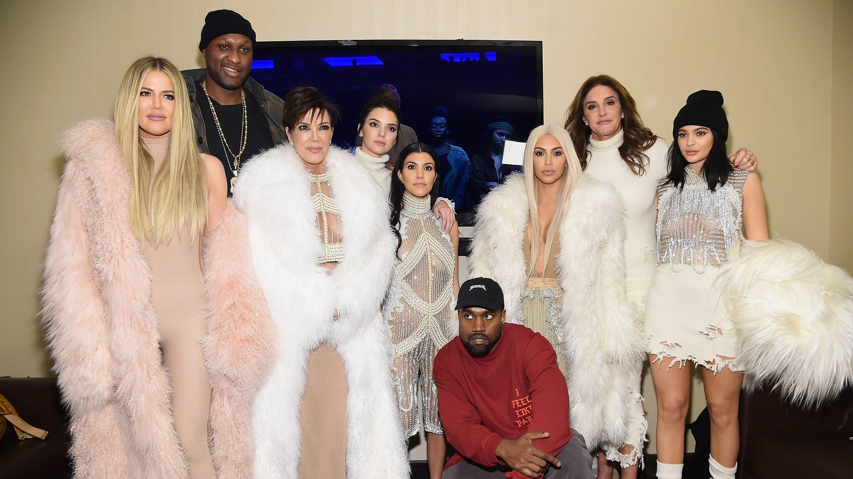 NEW YORK, NY - FEBRUARY 11:  (L-R) Khloe Kardashian, Lamar Odom, Kris Jenner, Kendall Jenner, Kourtney Kardashian, Kanye West, Kim Kardashian, Caitlin Jenner and Kylie Jenner attend Kanye West Yeezy Season 3 on February 11, 2016 in New York City.  (Photo by Jamie McCarthy/Getty Images for Yeezy Season 3)