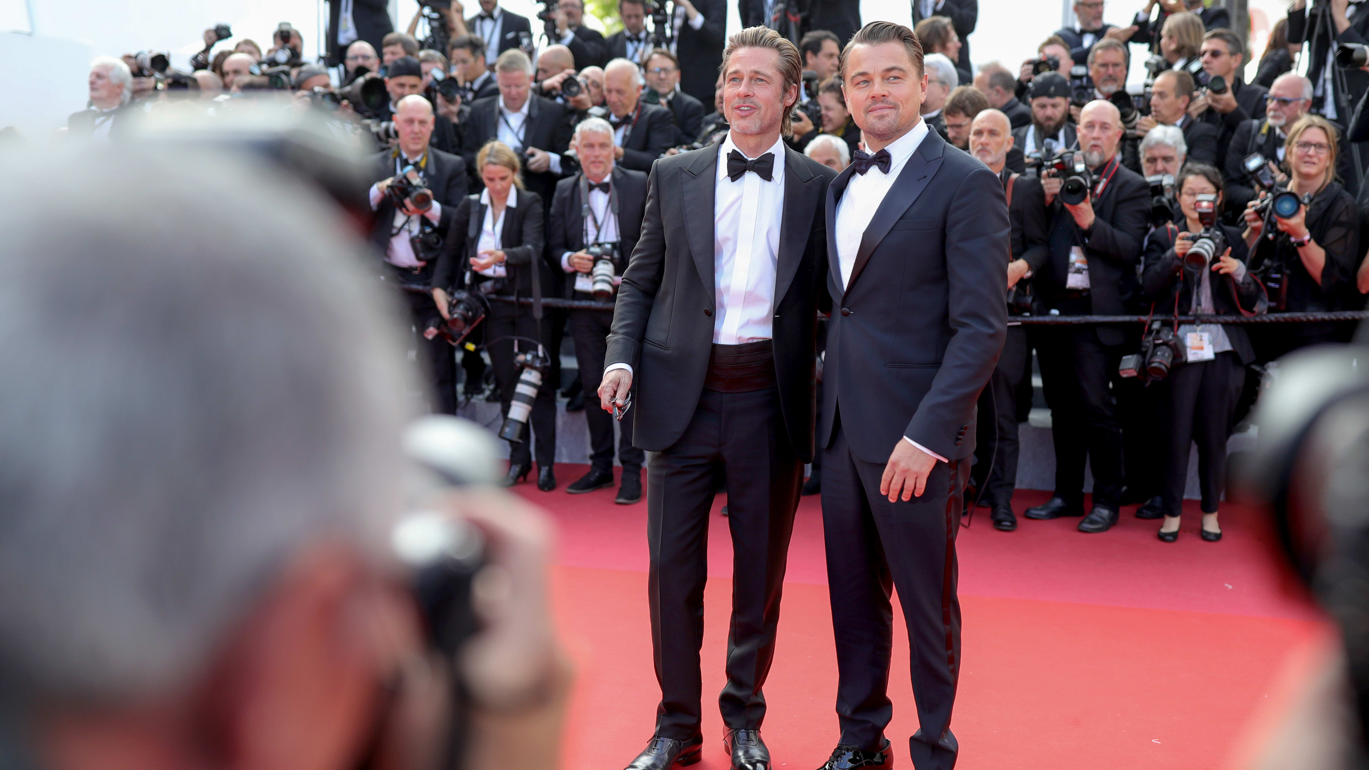 "CANNES, FRANCE - MAY 21: Brad Pitt and Leonardo DiCaprio attend the screening of ""Once Upon A Time In Hollywood"" during the 72nd annual Cannes Film Festival on May 21, 2019 in Cannes, France. (Photo by Andreas Rentz/Getty Images)"