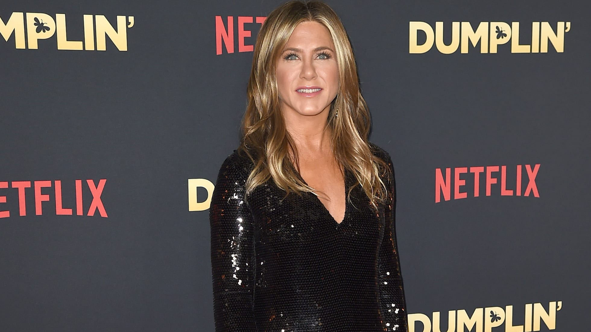 "LOS ANGELES, CA - DECEMBER 06:  Jennifer Aniston arrives at the premiere of Netflix's ""Dumplin'"" at the Chinese Theater on December 6, 2018 in Los Angeles, California.  (Photo by Kevin Winter/Getty Images)"