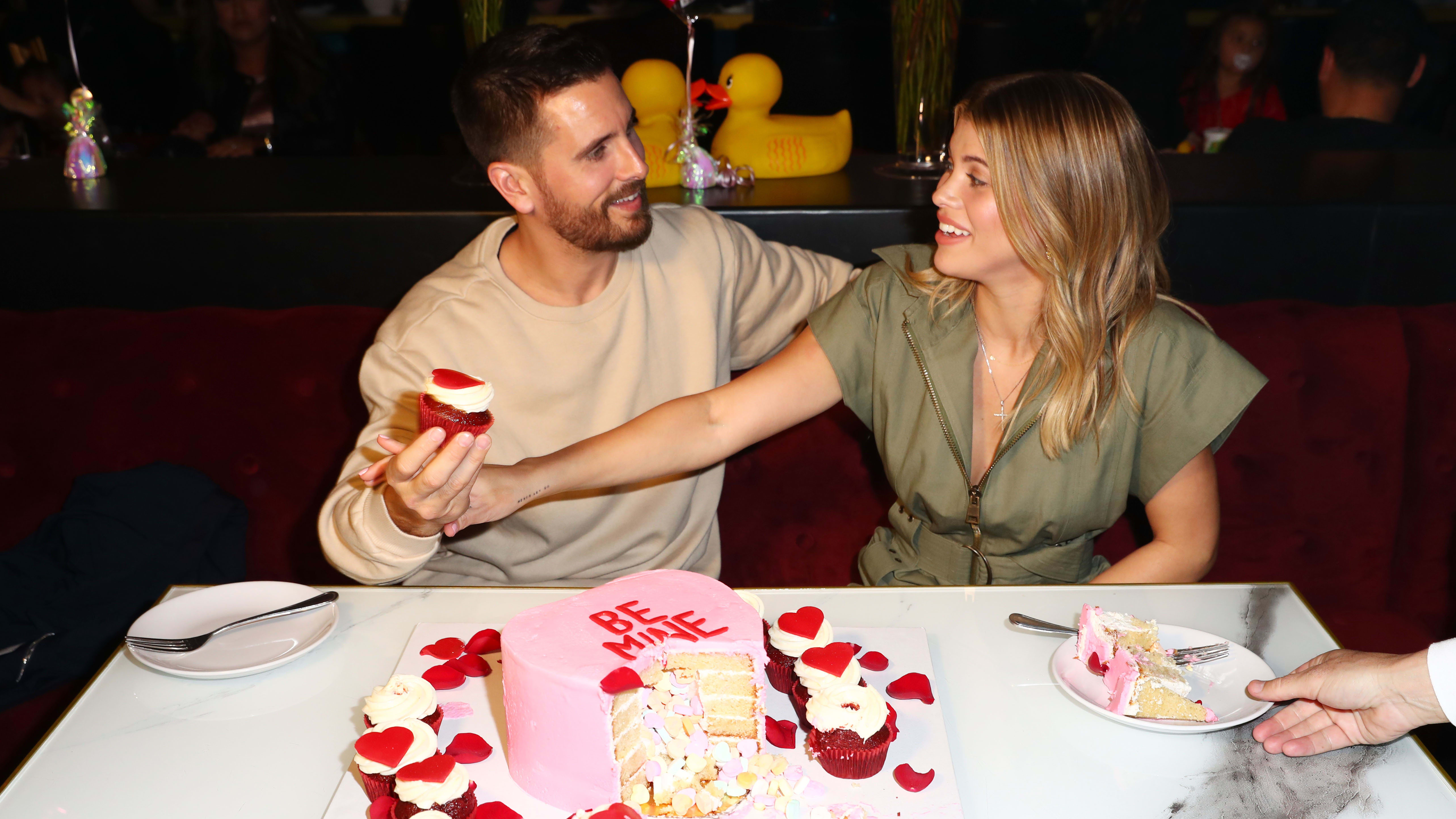 SAN DIEGO, CALIFORNIA - FEBRUARY 14:  Scott Disick and Sofia Richie celebrate Valentine's Day at San Diego's new Theatre Box® Entertainment Complex with dinner at Sugar Factory American Brasserie at Theatre Box® on February 14, 2019 in San Diego, California. (Photo by Joe Scarnici/Getty Images for Theatre Box)