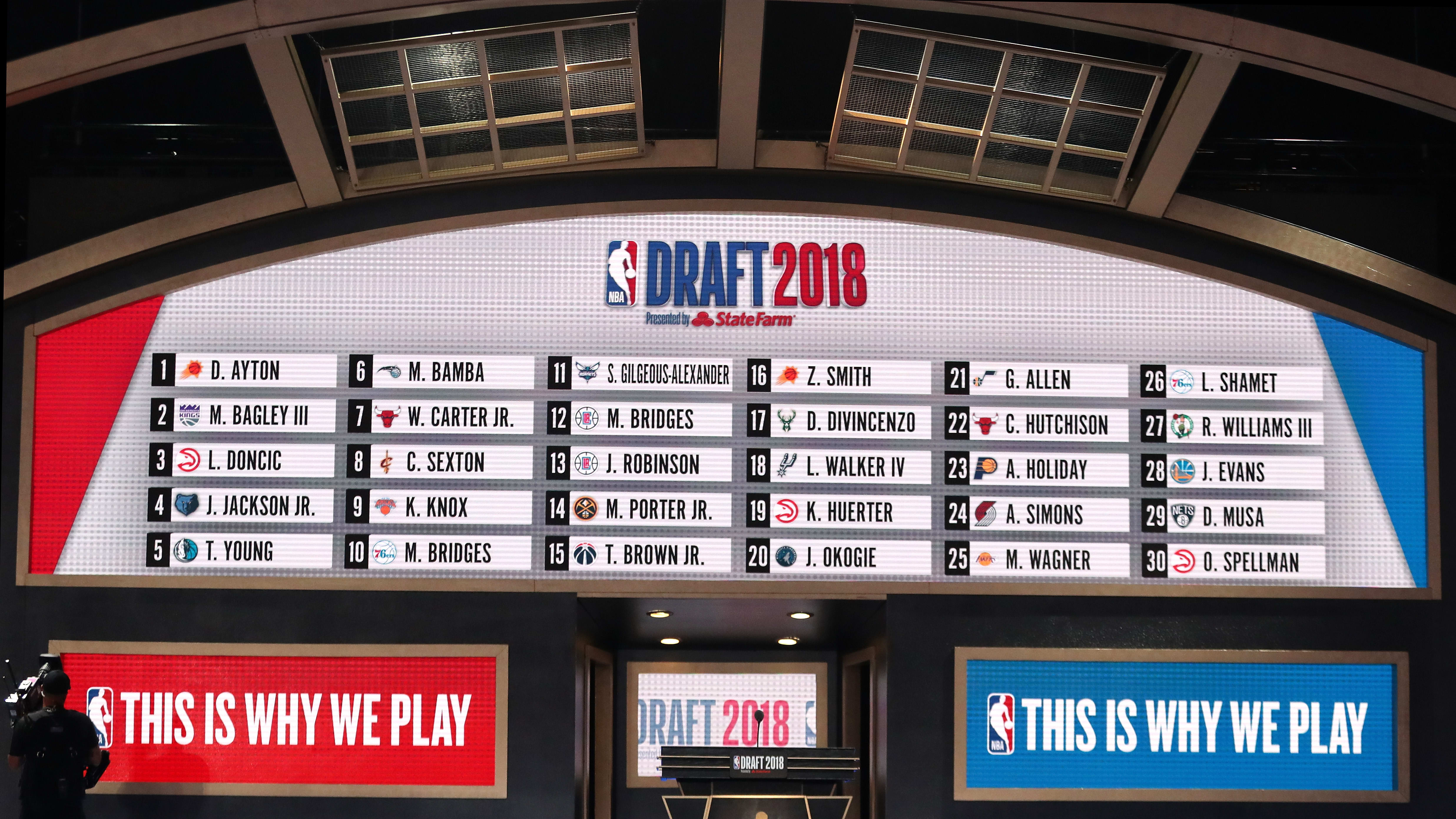 NEW YORK, NY - JUNE 21:  Picks one through 30 are seen on the board at the conclusion of the first round during the 2018 NBA Draft at the Barclays Center on June 21, 2018 in the Brooklyn borough of New York City. NOTE TO USER: User expressly acknowledges and agrees that, by downloading and or using this photograph, User is consenting to the terms and conditions of the Getty Images License Agreement.  (Photo by Mike Stobe/Getty Images)