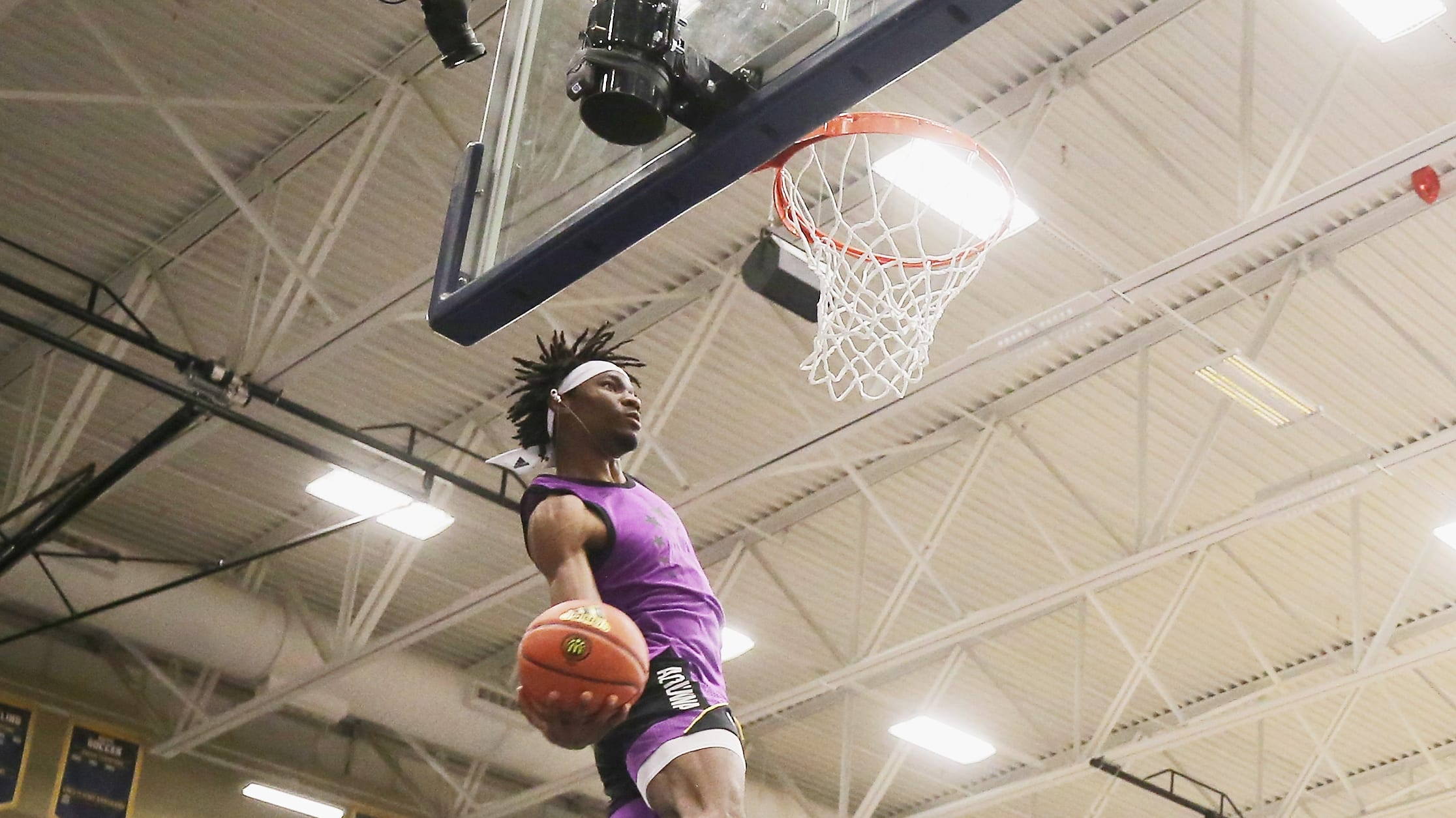 MARIETTA, GA - MARCH 25:  Precious Achiuwa competes in the dunk contest during the 2019 Powerade Jam Fest on March 25, 2019 in Marietta, Georgia.  (Photo by Mike Ehrmann/Getty Images for Powerade)