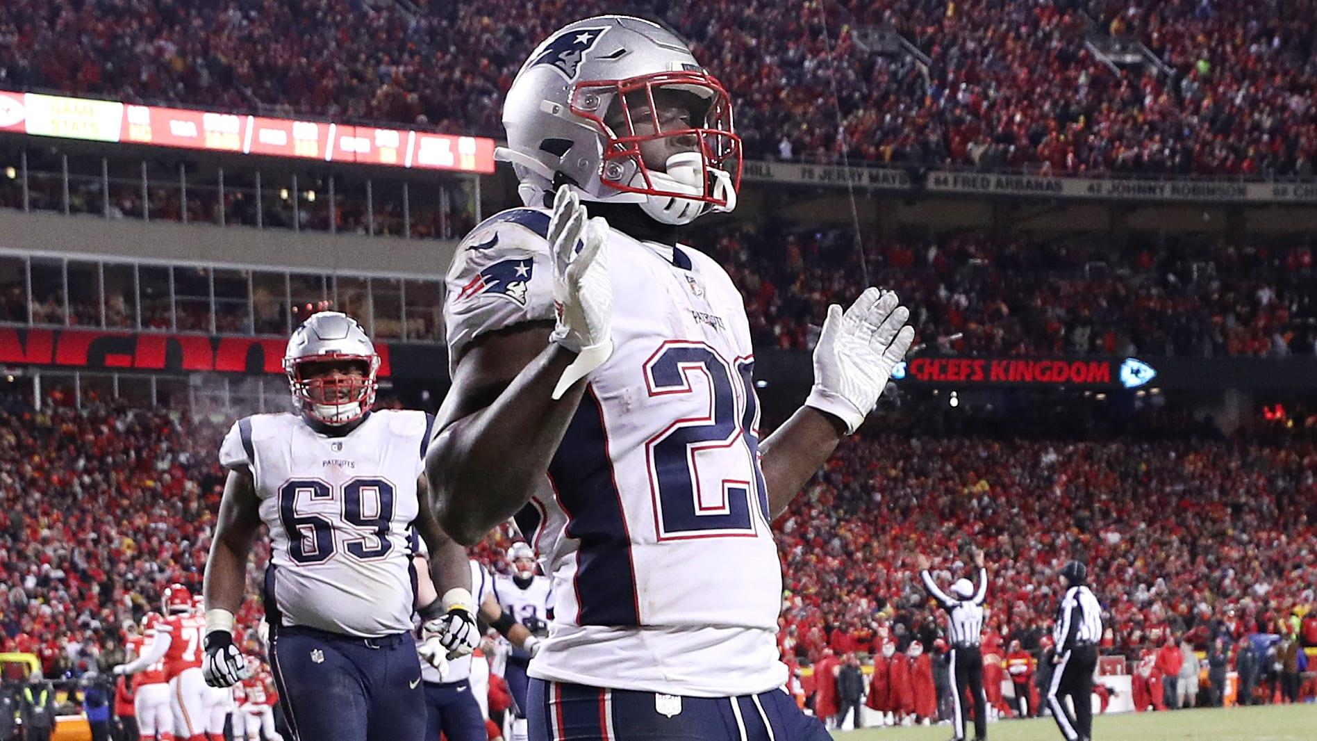 KANSAS CITY, MISSOURI - JANUARY 20: Sony Michel #26 of the New England Patriots celebrates after a touchdown in the fourth quarter against the Kansas City Chiefs during the AFC Championship Game at Arrowhead Stadium on January 20, 2019 in Kansas City, Missouri. (Photo by Patrick Smith/Getty Images)