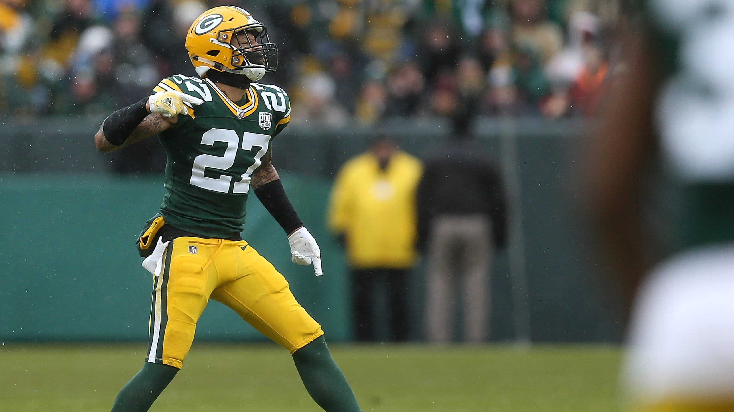GREEN BAY, WI - DECEMBER 02:  Josh Jones #27 of the Green Bay Packers reacts after recording a sack during the first half of a game against the Arizona Cardinals at Lambeau Field on December 2, 2018 in Green Bay, Wisconsin.  (Photo by Dylan Buell/Getty Images)