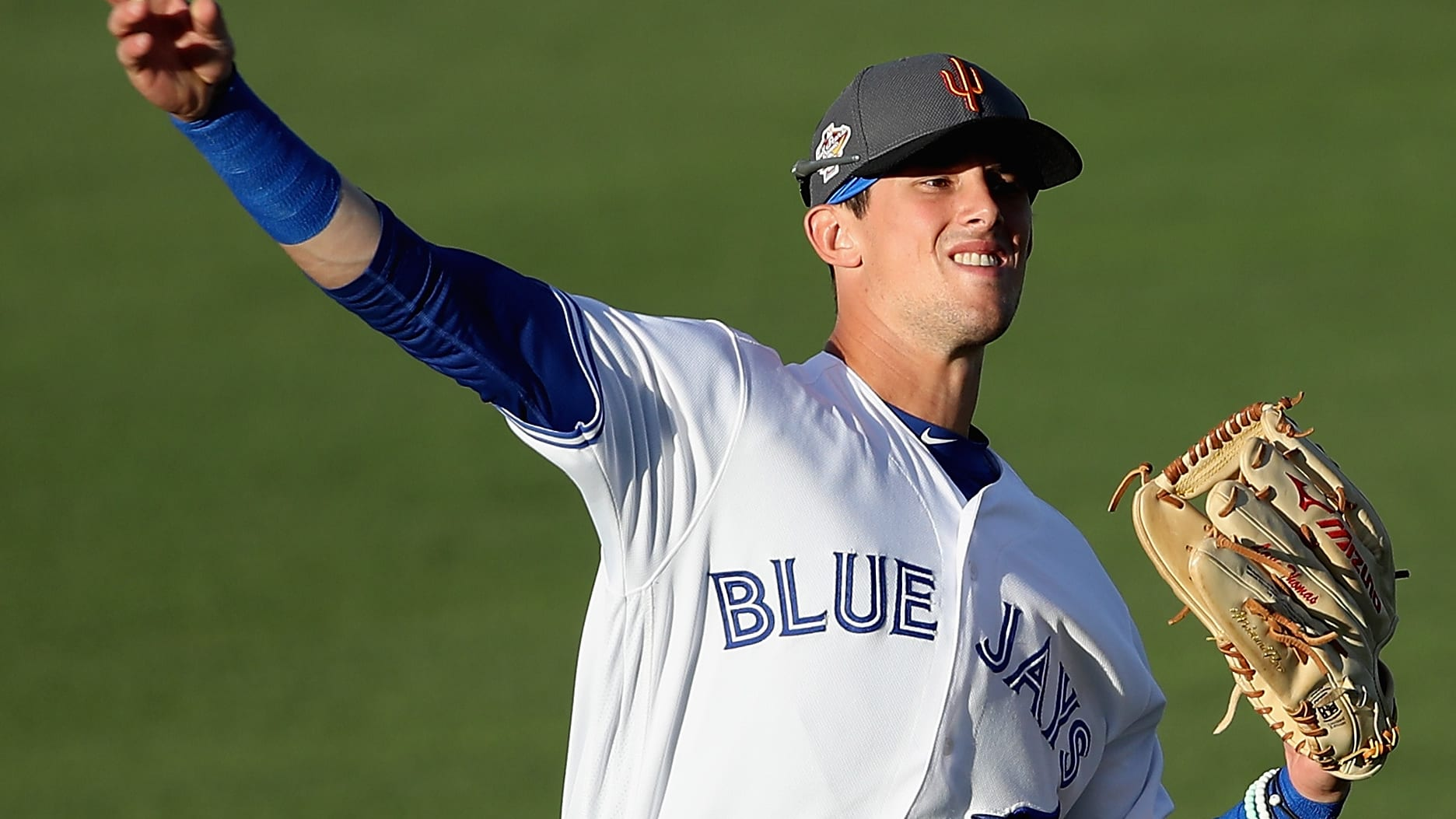 SURPRISE, AZ - NOVEMBER 03:  AFL West All-Star, Cavan Biggio #26 of the Toronto Blue Jays warms up before the Arizona Fall League All Star Game at Surprise Stadium on November 3, 2018 in Surprise, Arizona.  (Photo by Christian Petersen/Getty Images)
