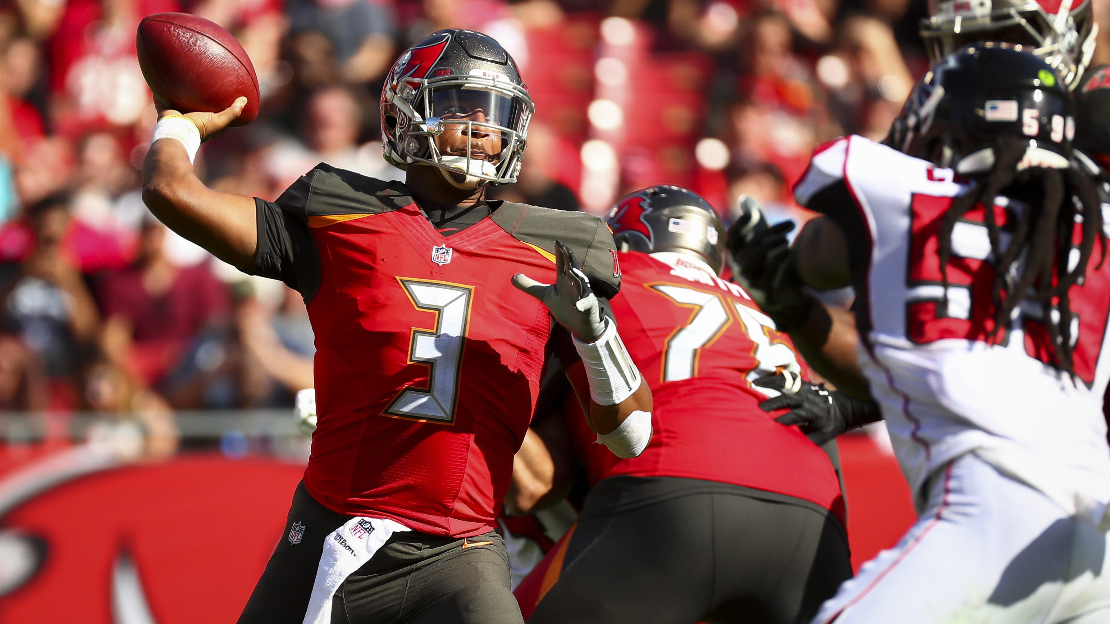 TAMPA, FL - DECEMBER 30: Quarterback Jameis Winston #3 of the Tampa Bay Buccaneers passes to wide receiver Chris Godwin #12 (not in frame)  in the second quarter of the game at Raymond James Stadium on December 30, 2018 in Tampa, Florida. (Photo by Will Vragovic/Getty Images)