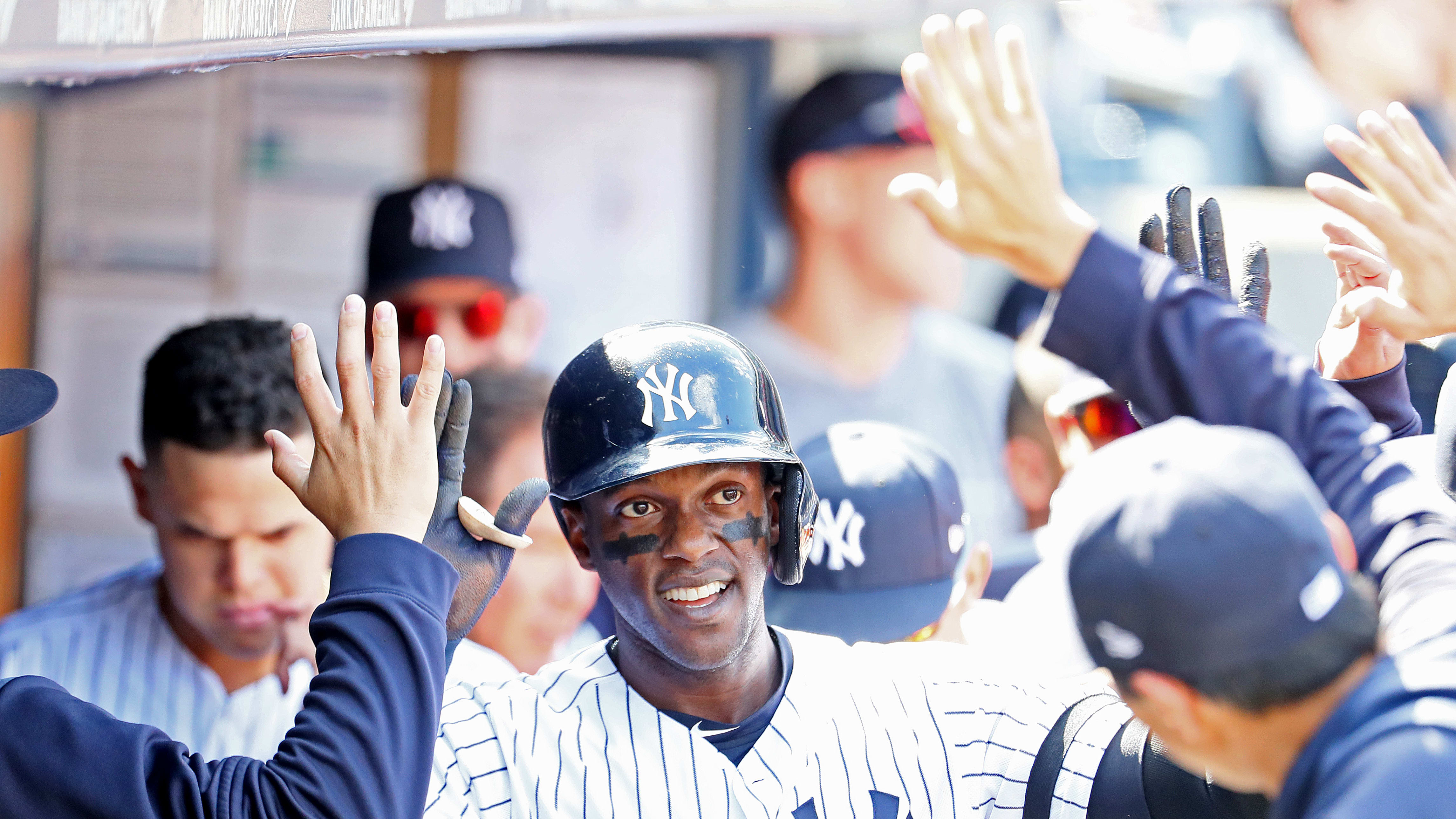 NEW YORK, NEW YORK - MAY 15:  Cameron Maybin #38 of the New York Yankees celebrates his second inning home run against the Baltimore Orioles during their game at Yankee Stadium on May 15, 2019 in New York City. (Photo by Al Bello/Getty Images)