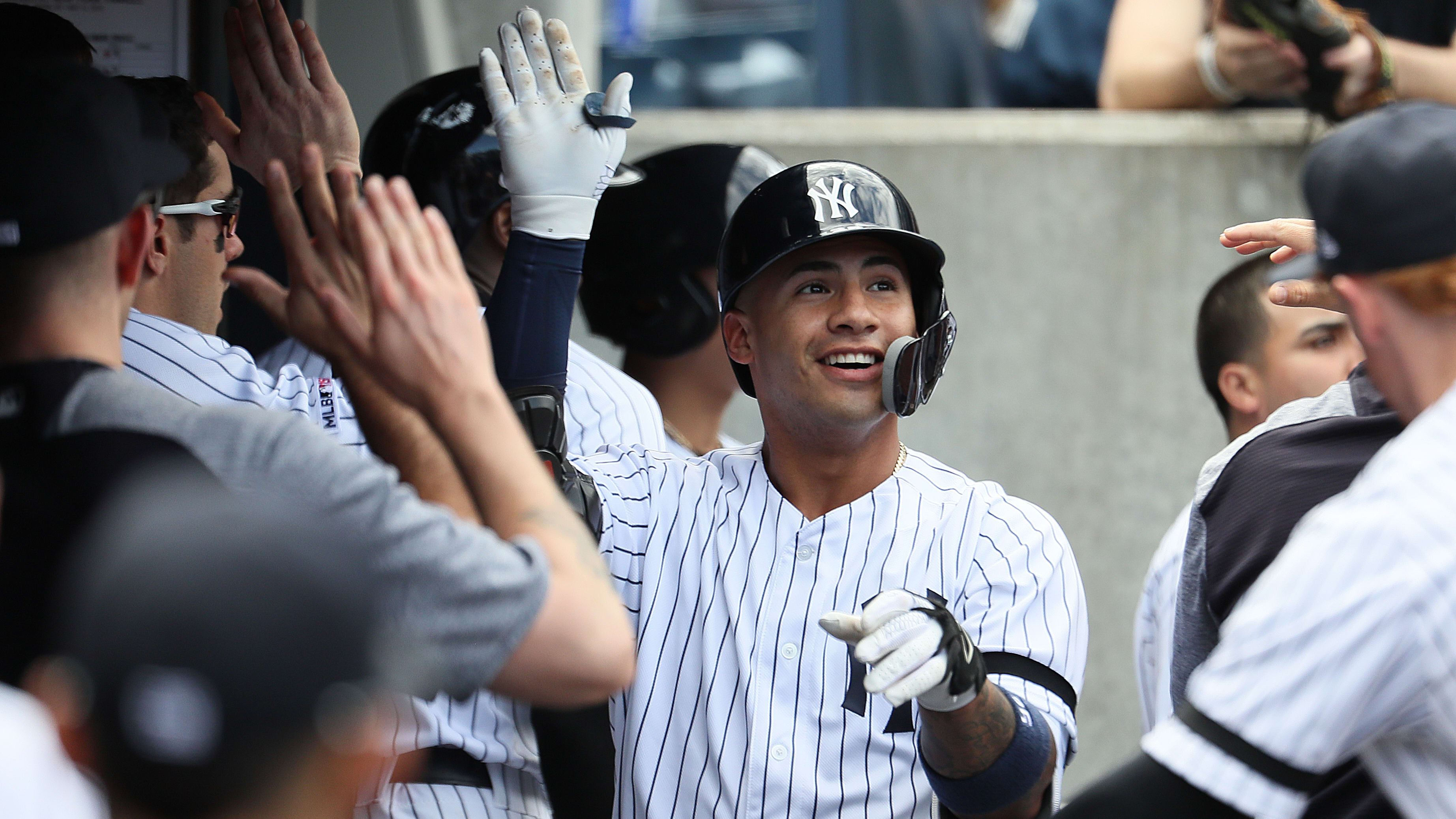NEW YORK, NEW YORK - MAY 15:  Gleyber Torres #25 of the New York Yankees celebrates a fourth inning home run against the Baltimore Orioles during their game at Yankee Stadium on May 15, 2019 in New York City. (Photo by Al Bello/Getty Images)