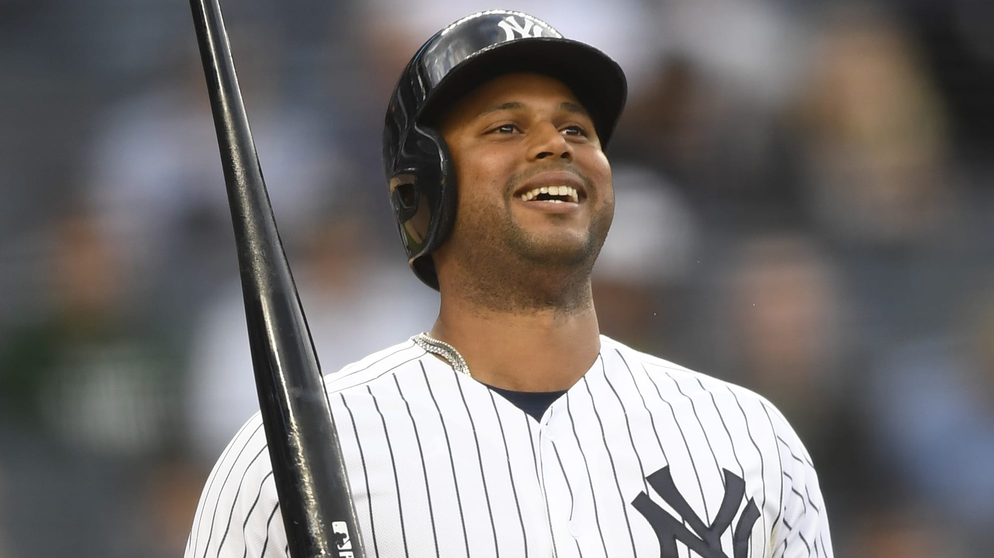 NEW YORK, NEW YORK - MAY 15: Aaron Hicks #31 of the New York Yankees reacts after hitting during the first inning of game two of a double header against the Baltimore Orioles at Yankee Stadium on May 15, 2019 in the Bronx borough of New York City. (Photo by Sarah Stier/Getty Images)