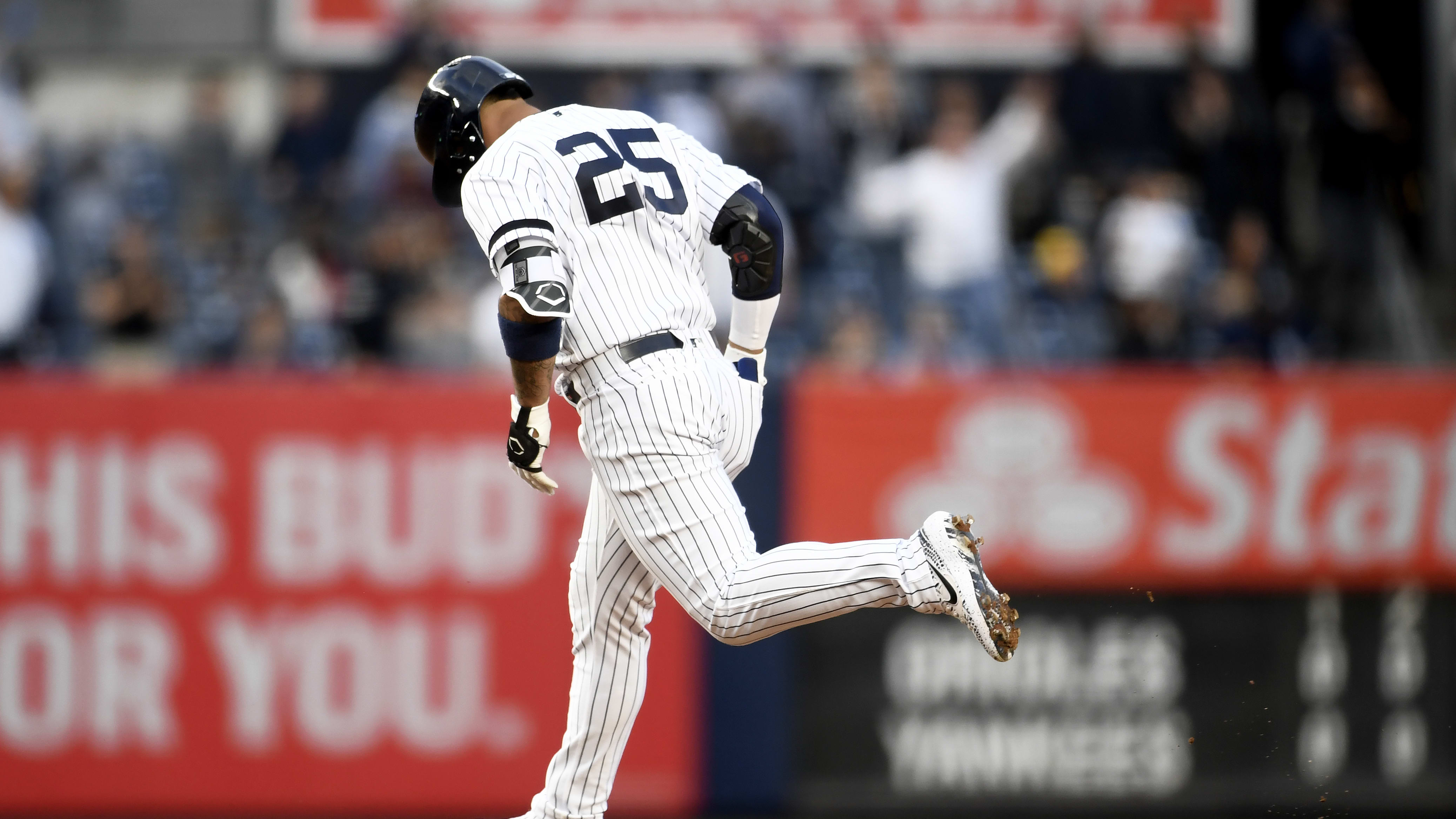 NEW YORK, NEW YORK - MAY 15: Gleyber Torres #25 of the New York Yankees runs the bases after hitting a home run during the fourth inning of game two of a double header against the Baltimore Orioles at Yankee Stadium on May 15, 2019 in the Bronx borough of New York City. (Photo by Sarah Stier/Getty Images)
