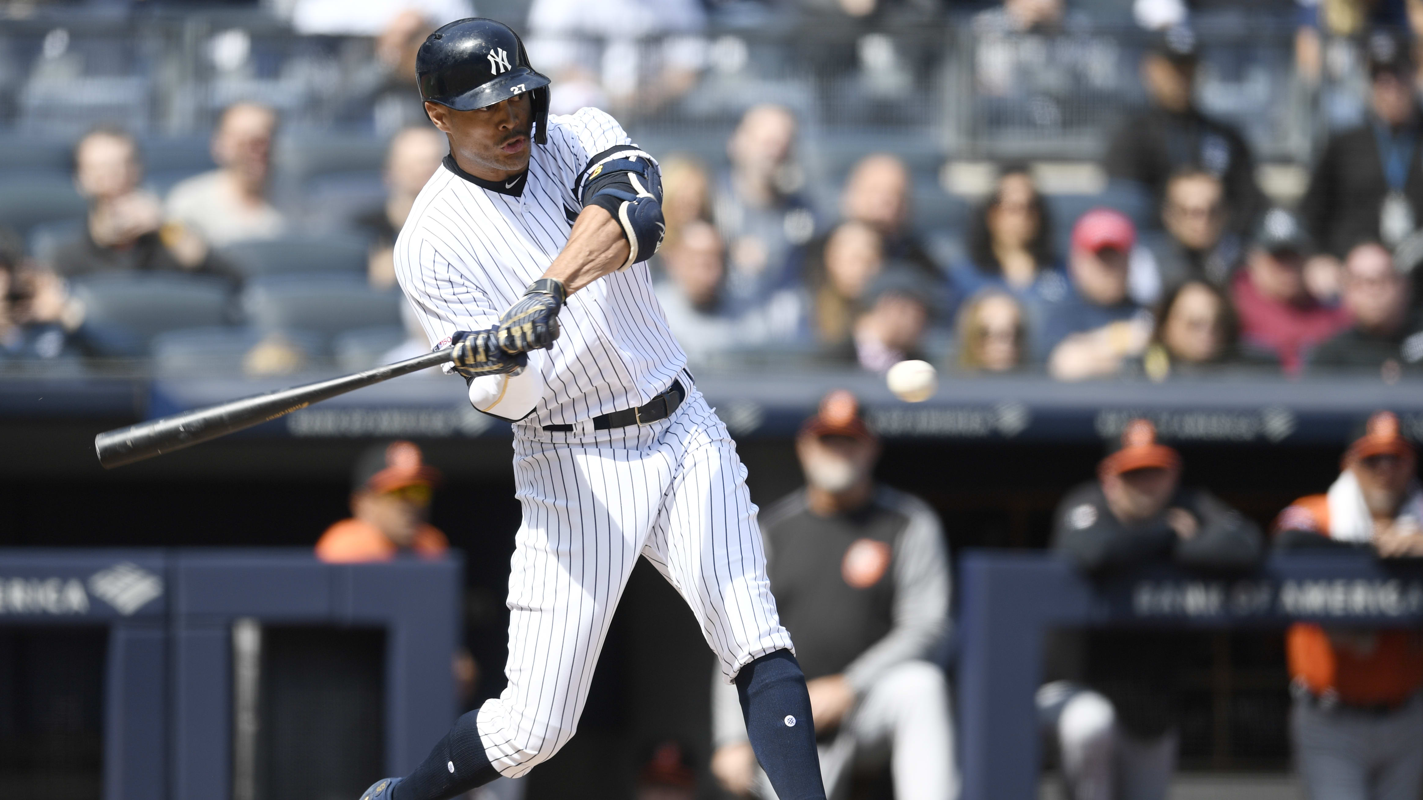 NEW YORK, NEW YORK - MARCH 30: Giancarlo Stanton #27 of the New York Yankees bats during the first inning of the game against the Baltimore Orioles at Yankee Stadium on March 30, 2019 in the Bronx borough of New York City. (Photo by Sarah Stier/Getty Images)