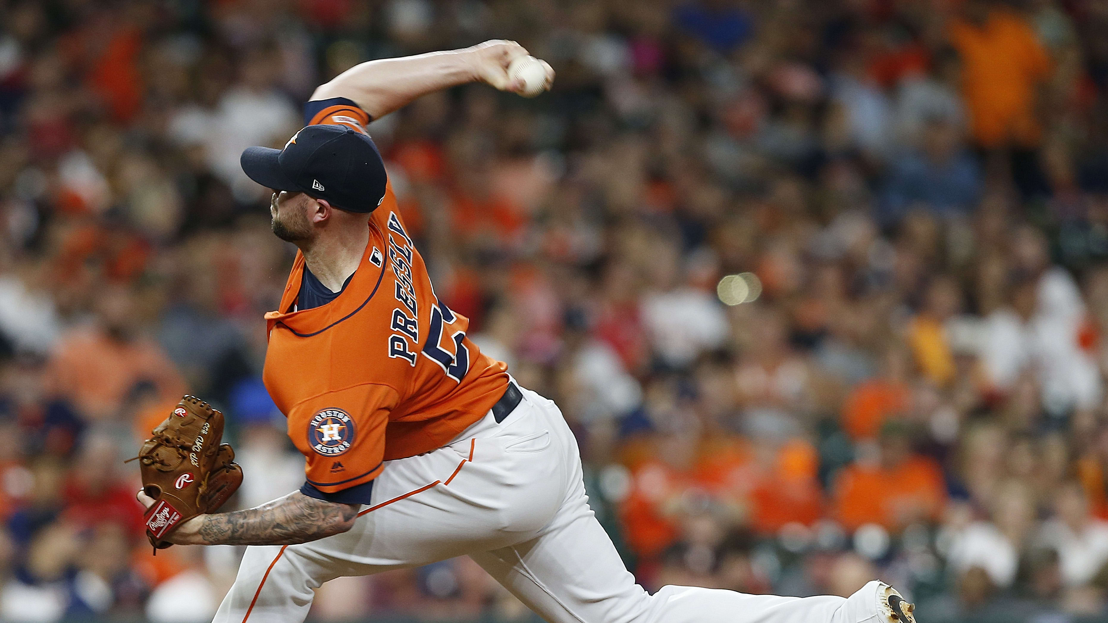 HOUSTON, TEXAS - MAY 24: Ryan Pressly #55 of the Houston Astros pitches in the eighth inning  against the Boston Red Sox at Minute Maid Park on May 24, 2019 in Houston, Texas. (Photo by Bob Levey/Getty Images)