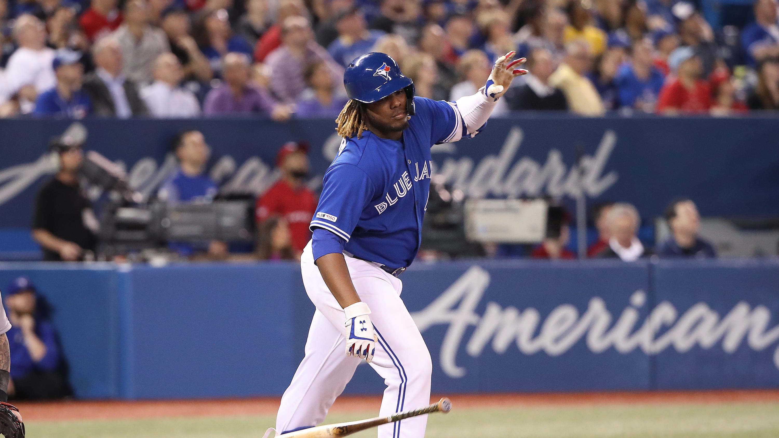TORONTO, ON - MAY 23: Vladimir Guerrero Jr. #27 of the Toronto Blue Jays reacts as he flies out in the third inning during MLB game action against the Boston Red Sox at Rogers Centre on May 23, 2019 in Toronto, Canada. (Photo by Tom Szczerbowski/Getty Images)