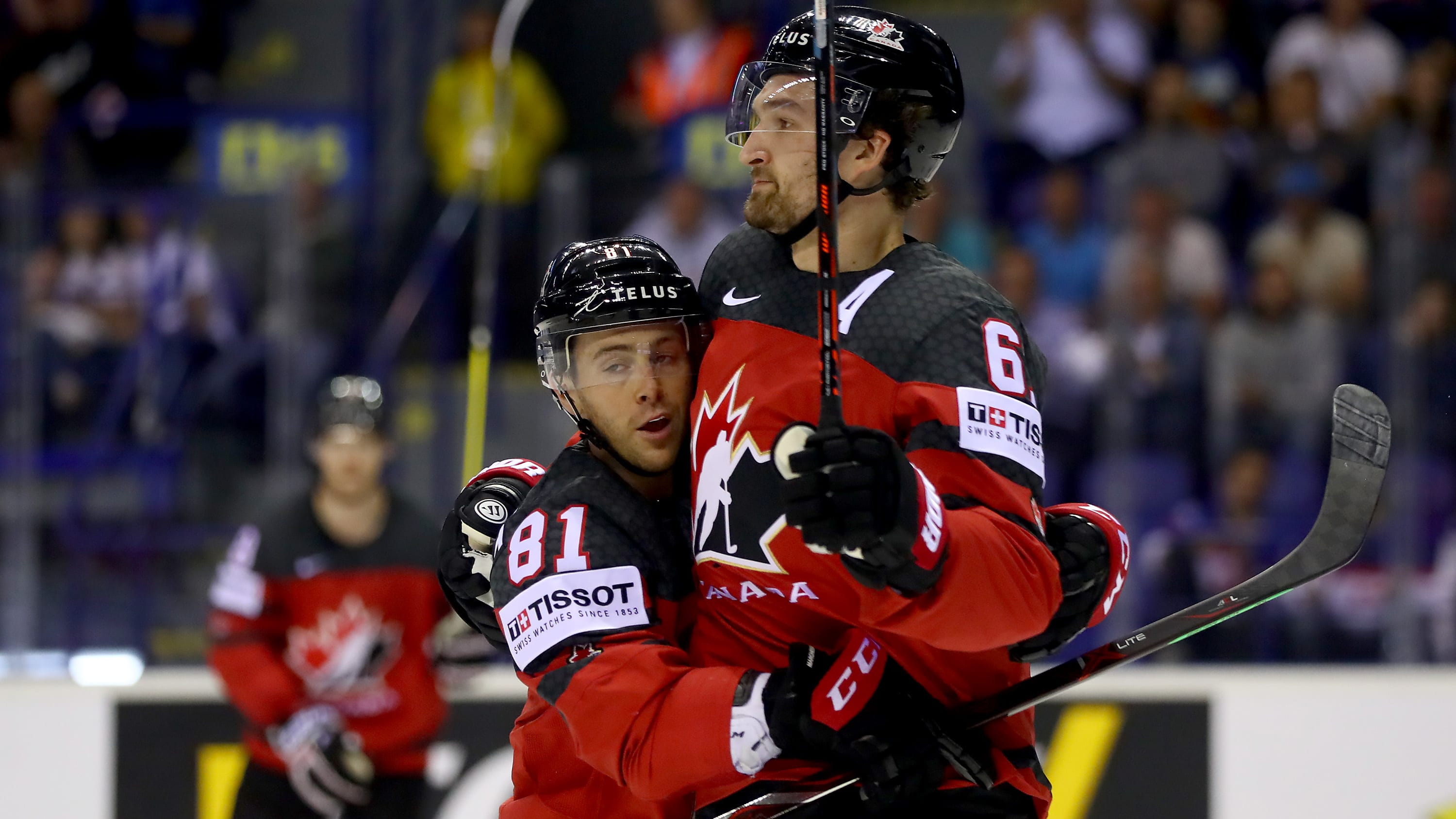 KOSICE, SLOVAKIA - MAY 18: Mark Stone #61 Canada clebrate with team mate Jonathan Marchessault #81 after he scores the 2nd goal during the 2019 IIHF Ice Hockey World Championship Slovakia group A game between Canada and Germany at Steel Arena on May 18, 2019 in Kosice, Slovakia. (Photo by Martin Rose/Getty Images)
