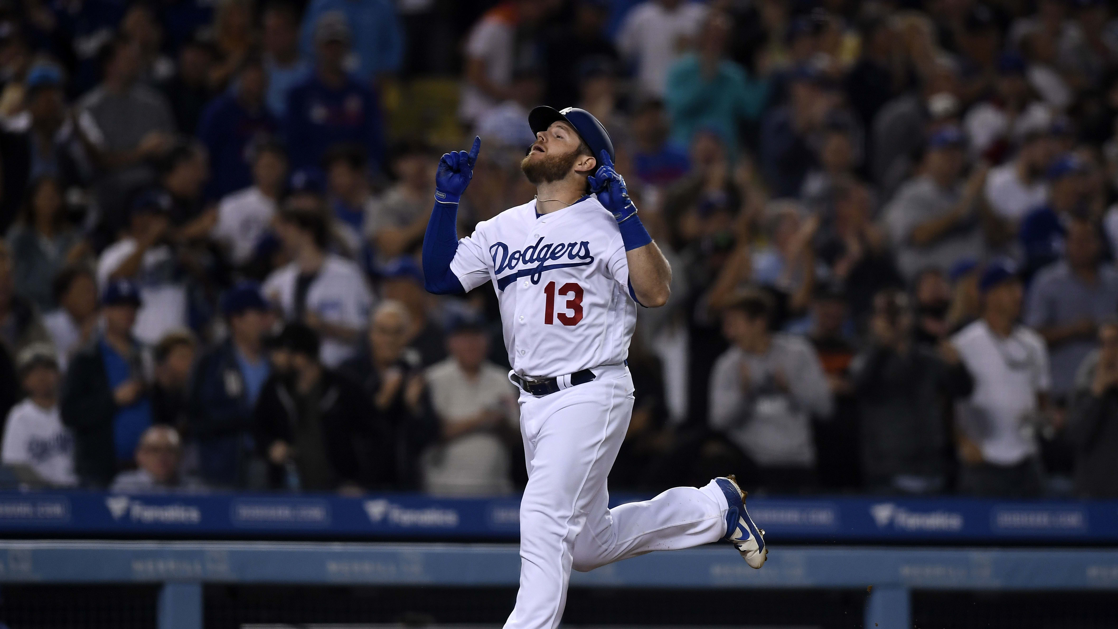 LOS ANGELES, CA - JUNE 13: Max Muncy #13 of the Los Angeles Dodgers celebrate after hitting a two run home run against Chicago Cubs during the fourth inning to at Dodger Stadium on June 13, 2019 in Los Angeles, California. (Photo by Kevork Djansezian/Getty Images)