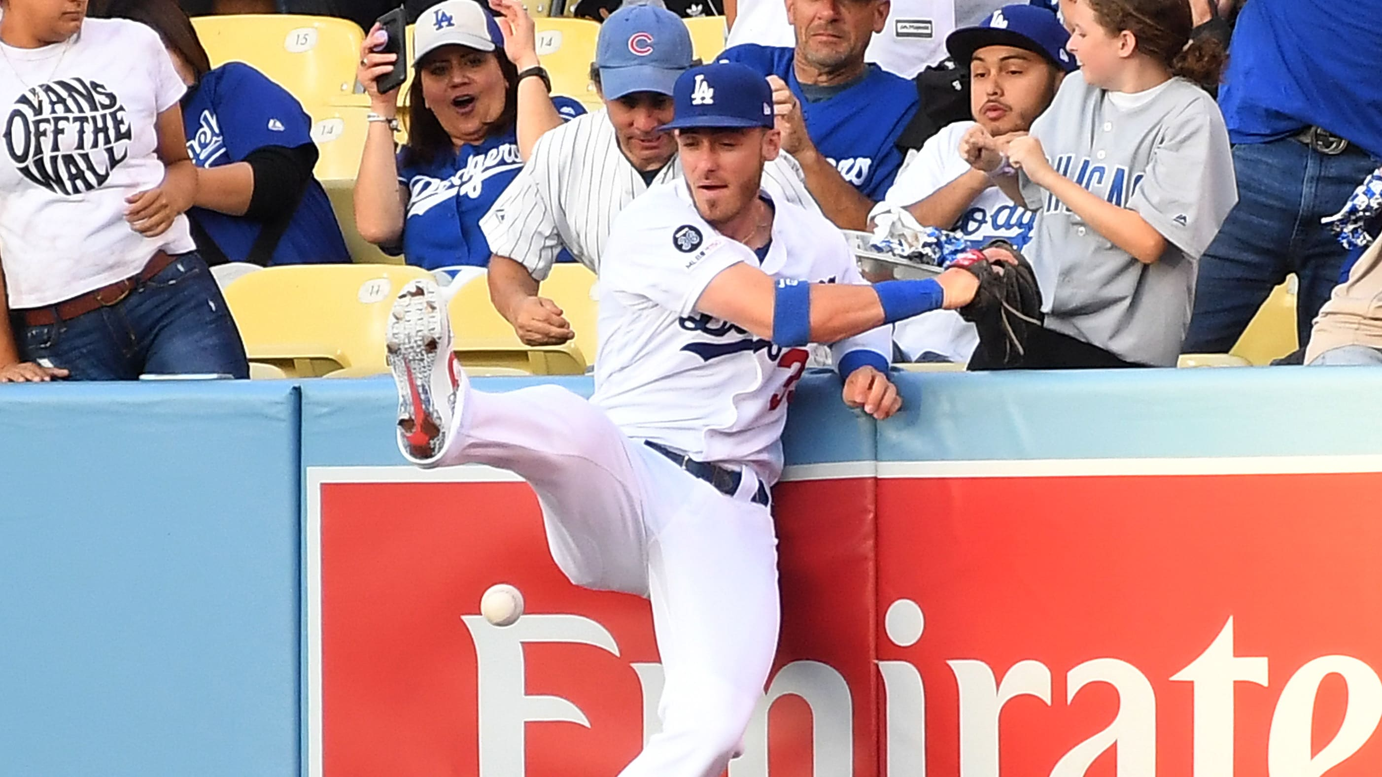 LOS ANGELES, CA - JUNE 14: Cody Bellinger #35 of the Los Angeles Dodgers can't come up with a ball hit by Kyle Schwarber #12 of the Chicago Cubs for a two run home run in the first inning of the game at Dodger Stadium on June 14, 2019 in Los Angeles, California. (Photo by Jayne Kamin-Oncea/Getty Images)