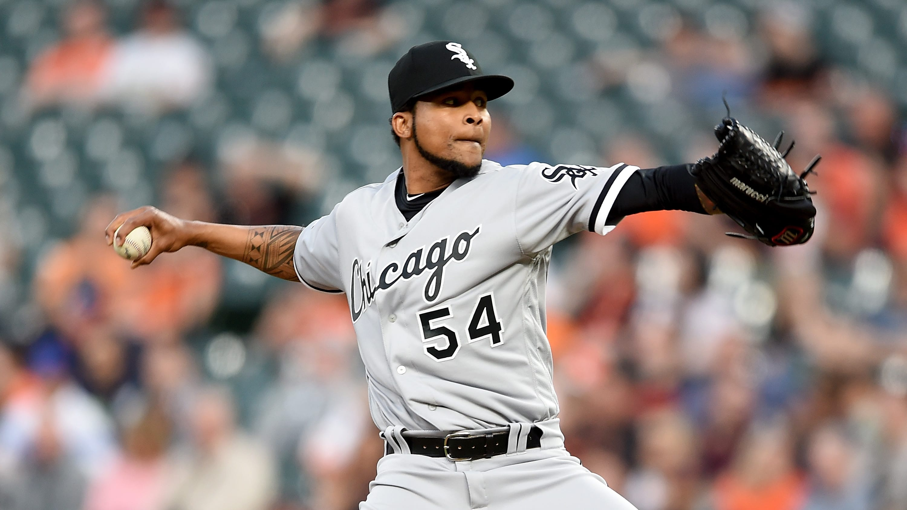 BALTIMORE, MD - APRIL 24:  Ervin Santana #54 of the Chicago White Sox pitches in the first inning against the Baltimore Orioles at Oriole Park at Camden Yards on April 24, 2019 in Baltimore, Maryland.  (Photo by Greg Fiume/Getty Images)