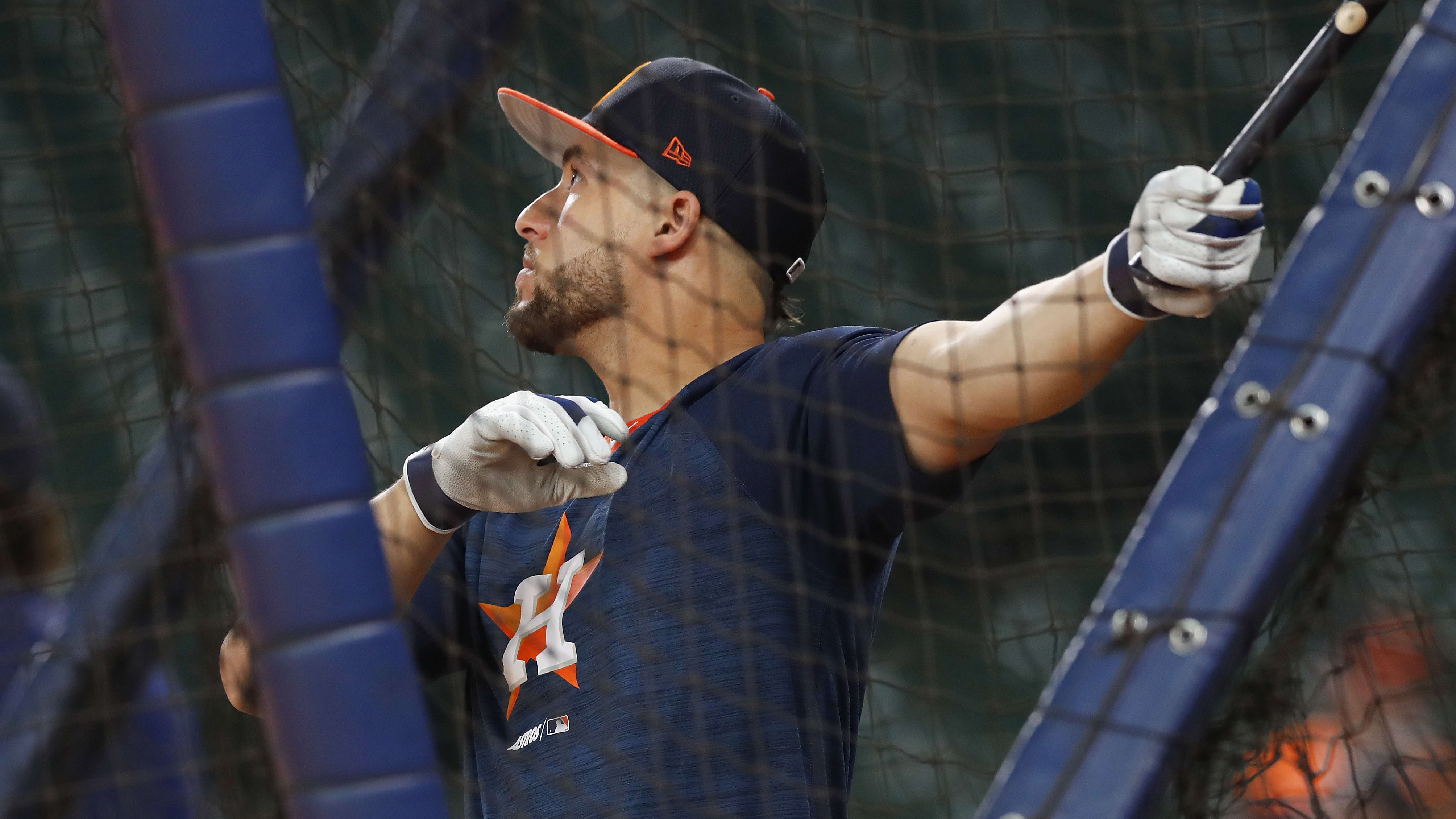 HOUSTON, TX - MAY 23:  George Springer #4 of the Houston Astros takes batting practice before the game against the Chicago White Sox at Minute Maid Park on May 23, 2019 in Houston, Texas.  (Photo by Tim Warner/Getty Images)