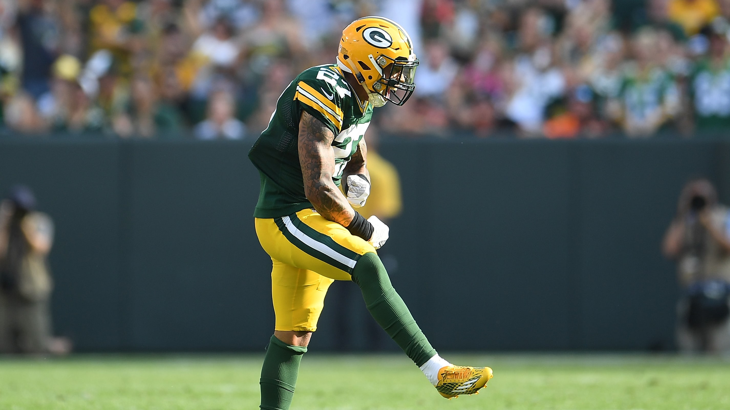 GREEN BAY, WI - SEPTEMBER 24:  Josh Jones #27 of the Green Bay Packers reacts after a sack during the first quarter against the Cincinnati Bengals at Lambeau Field on September 24, 2017 in Green Bay, Wisconsin.  (Photo by Stacy Revere/Getty Images)