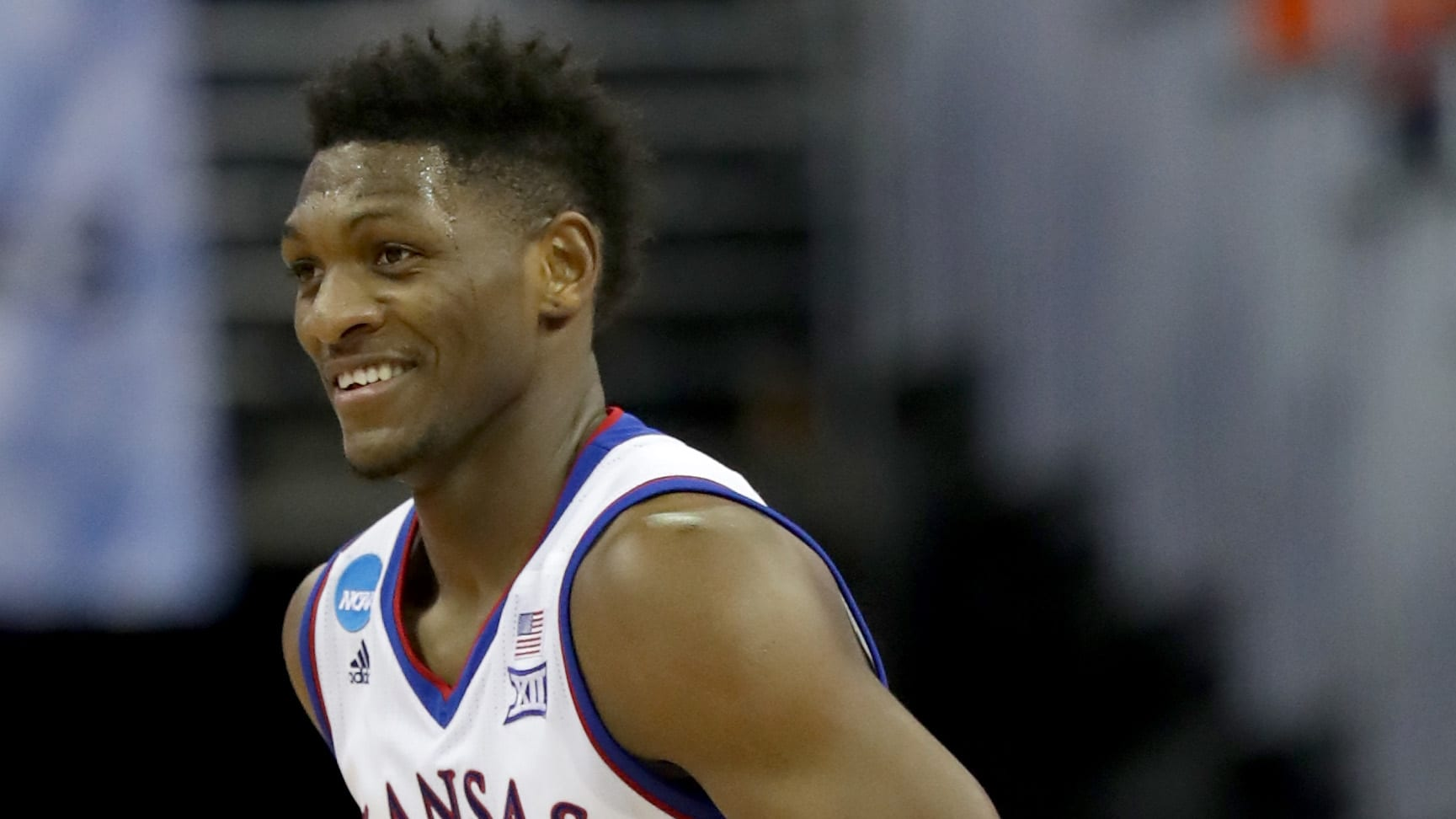 OMAHA, NE - MARCH 23:  Silvio De Sousa #22 of the Kansas Jayhawks reacts against the Clemson Tigers during the second half in the 2018 NCAA Men's Basketball Tournament Midwest Regional at CenturyLink Center on March 23, 2018 in Omaha, Nebraska.  (Photo by Streeter Lecka/Getty Images)
