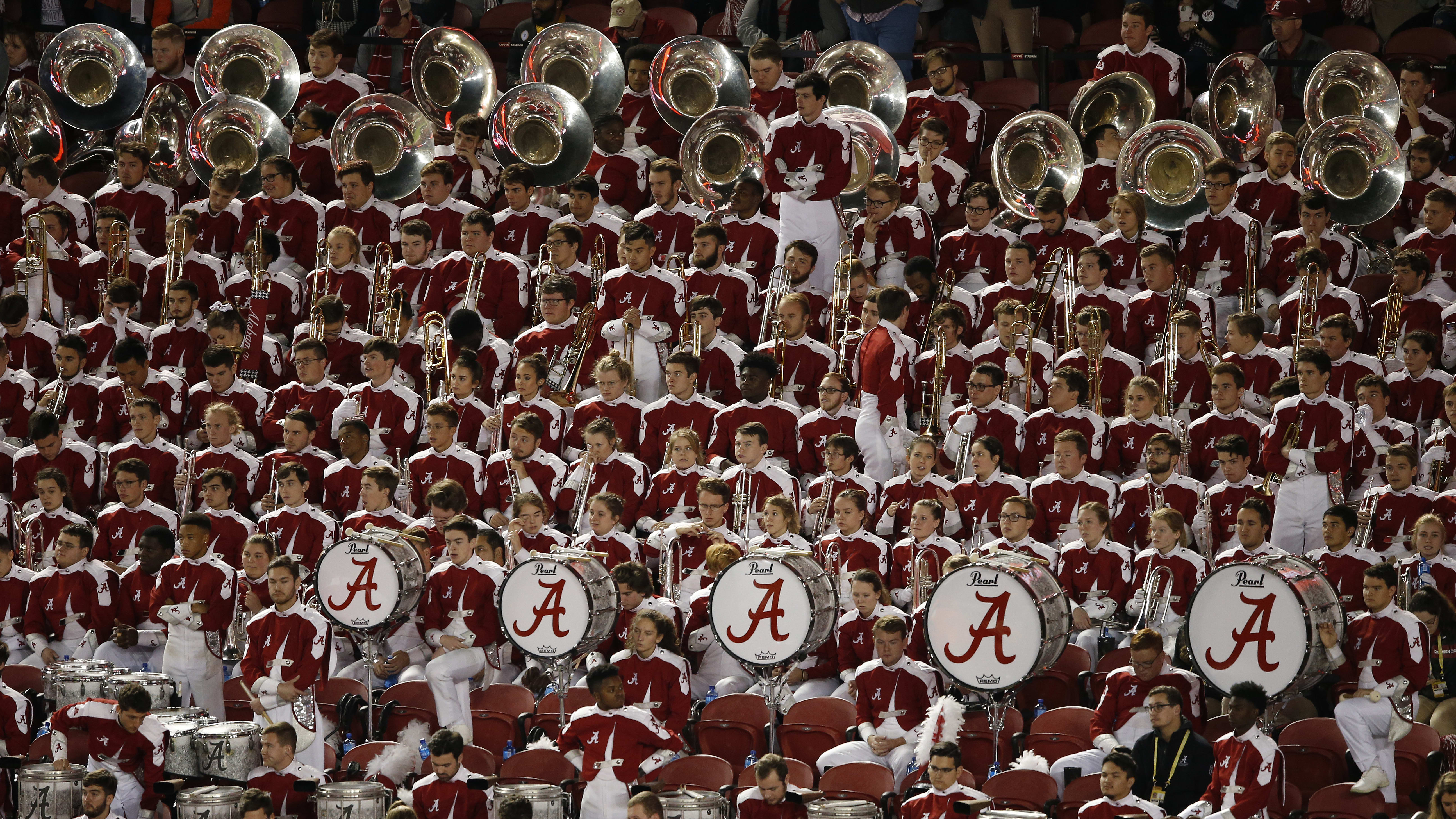 SANTA CLARA, CALIFORNIA - JANUARY 07: The Alabama Crimson Tide marching band performs in the College Football Playoff National Championship against the Clemson Tigers at Levi's Stadium on January 07, 2019 in Santa Clara, California. (Photo by Lachlan Cunningham/Getty Images)