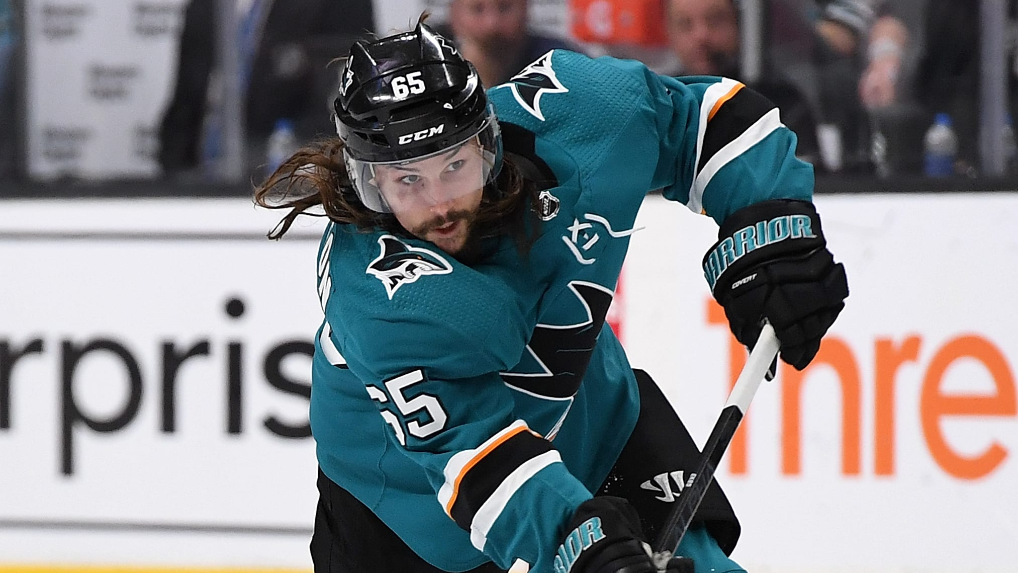 SAN JOSE, CA - APRIL 26:  Erik Karlsson #65 of the San Jose Sharks shoots on goal against the Colorado Avalanche during the second period in Game One of the Western Conference Second Round during the 2019 NHL Stanley Cup Playoffs at SAP Center on April 26, 2019 in San Jose, California.  (Photo by Thearon W. Henderson/Getty Images )