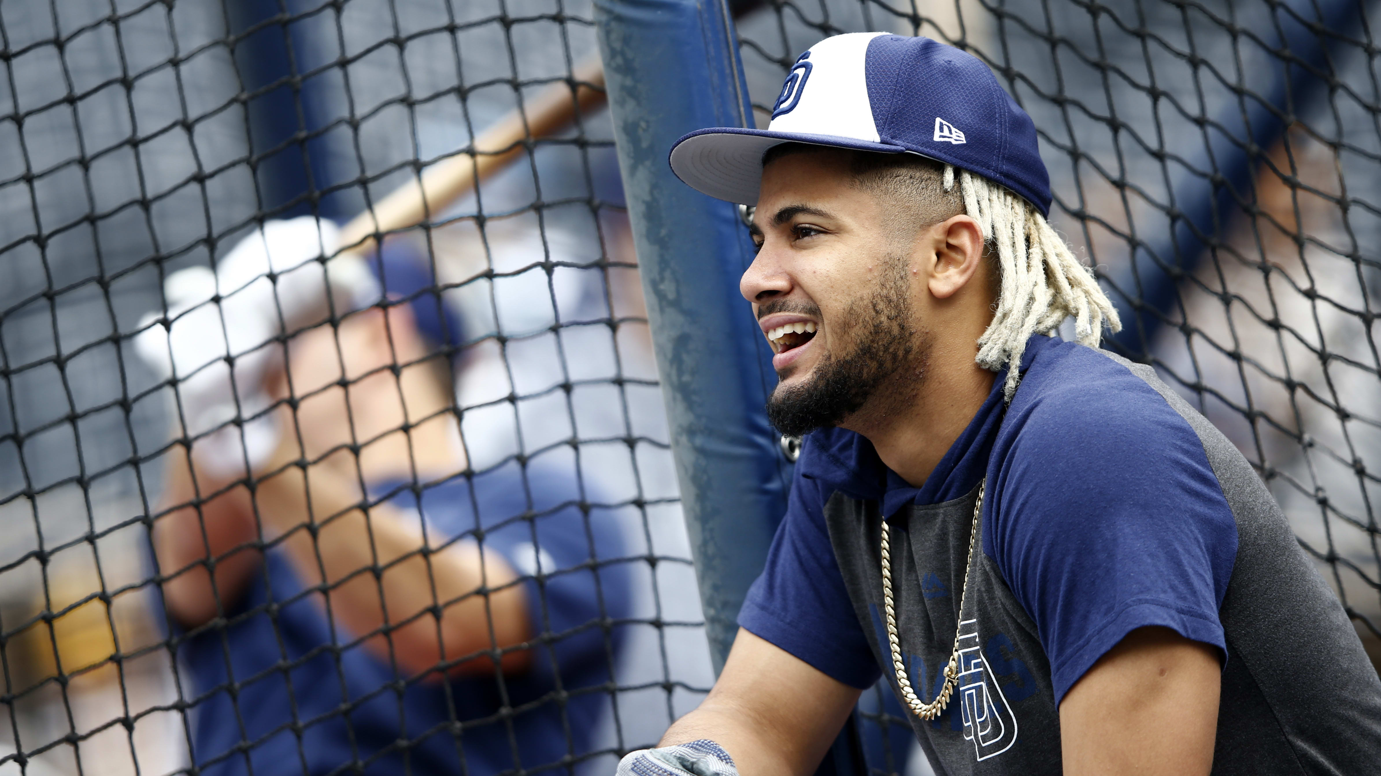SAN DIEGO, CALIFORNIA - APRIL 16:  Fernando Tatis Jr. #23 of the San Diego Padres looks on during batting practice prior to a game against the Colorado Rockies at PETCO Park on April 16, 2019 in San Diego, California. (Photo by Sean M. Haffey/Getty Images)