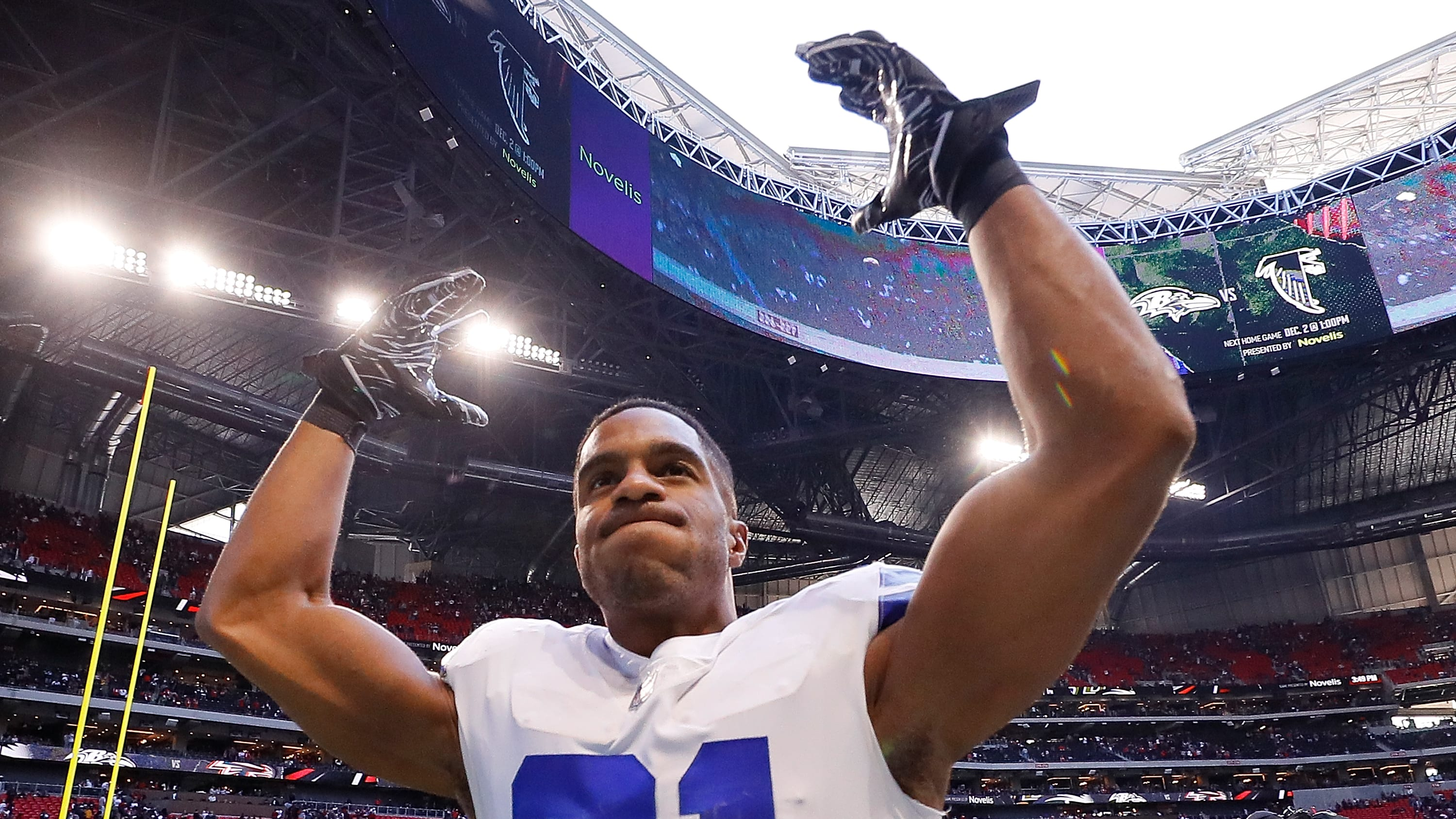 ATLANTA, GA - NOVEMBER 18:  Byron Jones #31 of the Dallas Cowboys celebrates their 22-19 win over the Atlanta Falcons at Mercedes-Benz Stadium on November 18, 2018 in Atlanta, Georgia.  (Photo by Kevin C. Cox/Getty Images)